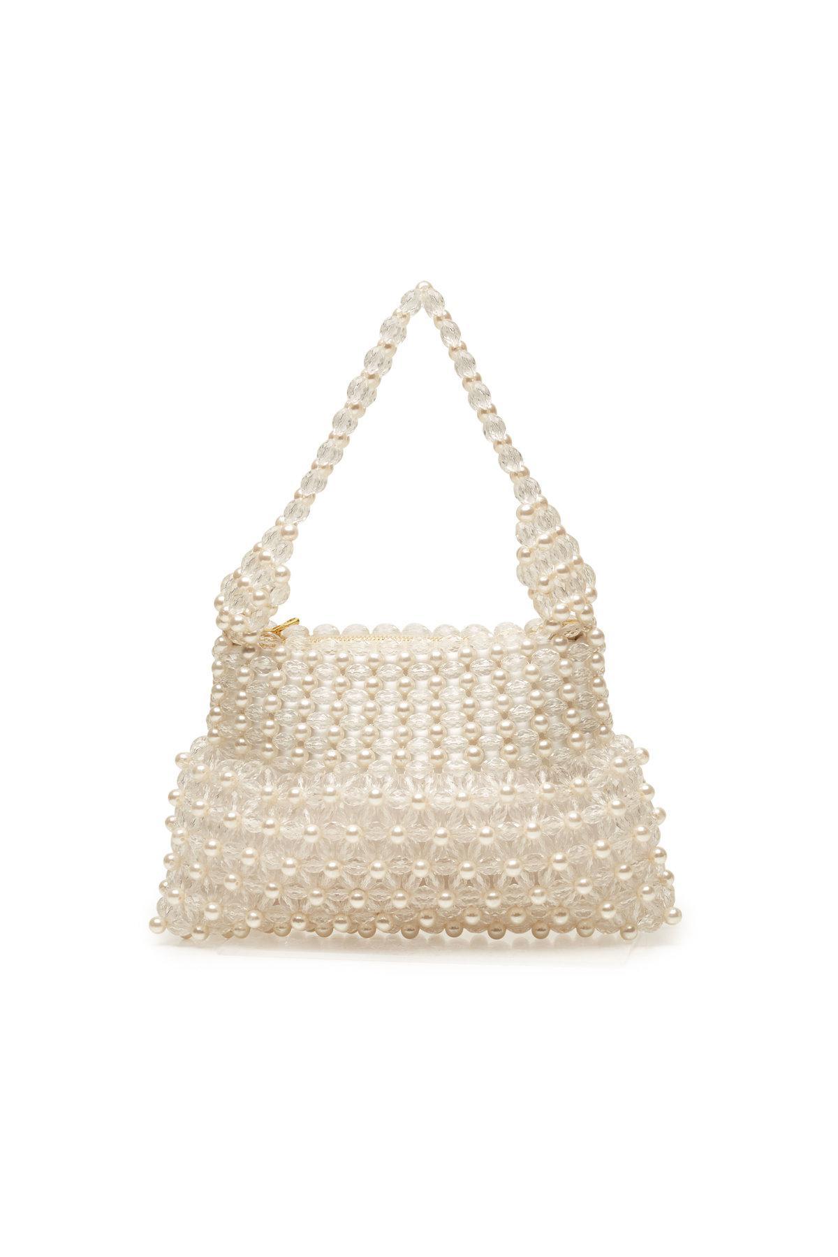 Lyst - Shrimps Bead Embellished Handbag in Natural 427c1603a5cd2
