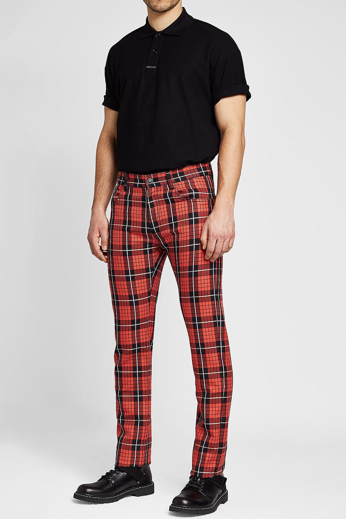 c3b27752 Raf Simons Plaid Jeans in Red for Men - Lyst
