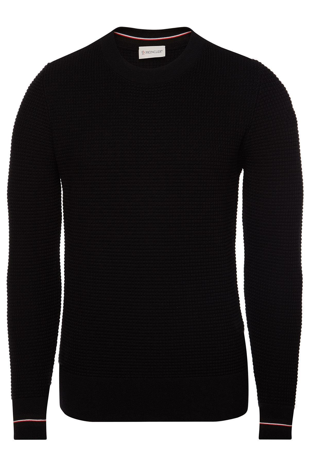 47dc0fa96 Moncler Virgin Wool Pullover in Black for Men - Lyst