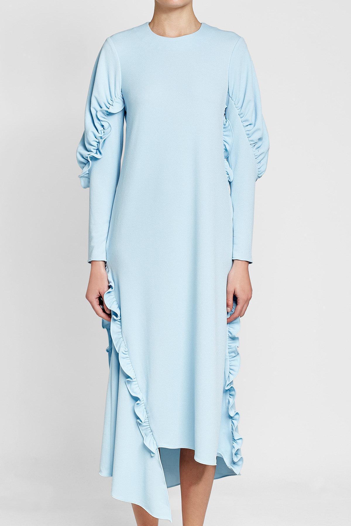 b81663efe9f Tibi - Blue Crepe Dress With Ruffles - Lyst. View fullscreen