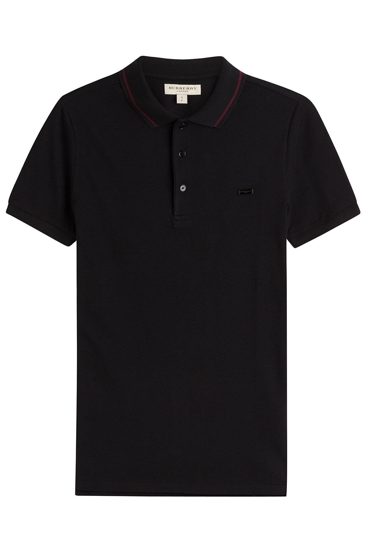Burberry cotton polo shirt blue in black for men lyst for Black cotton polo shirt