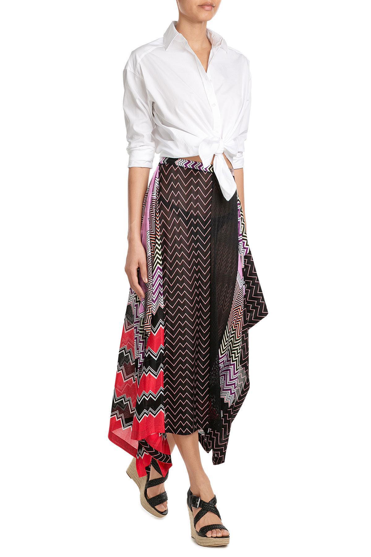 Missoni - Multicolor Draped Midi-skirt With Patchwork Print - Lyst. View  fullscreen 3d1036fd242ed