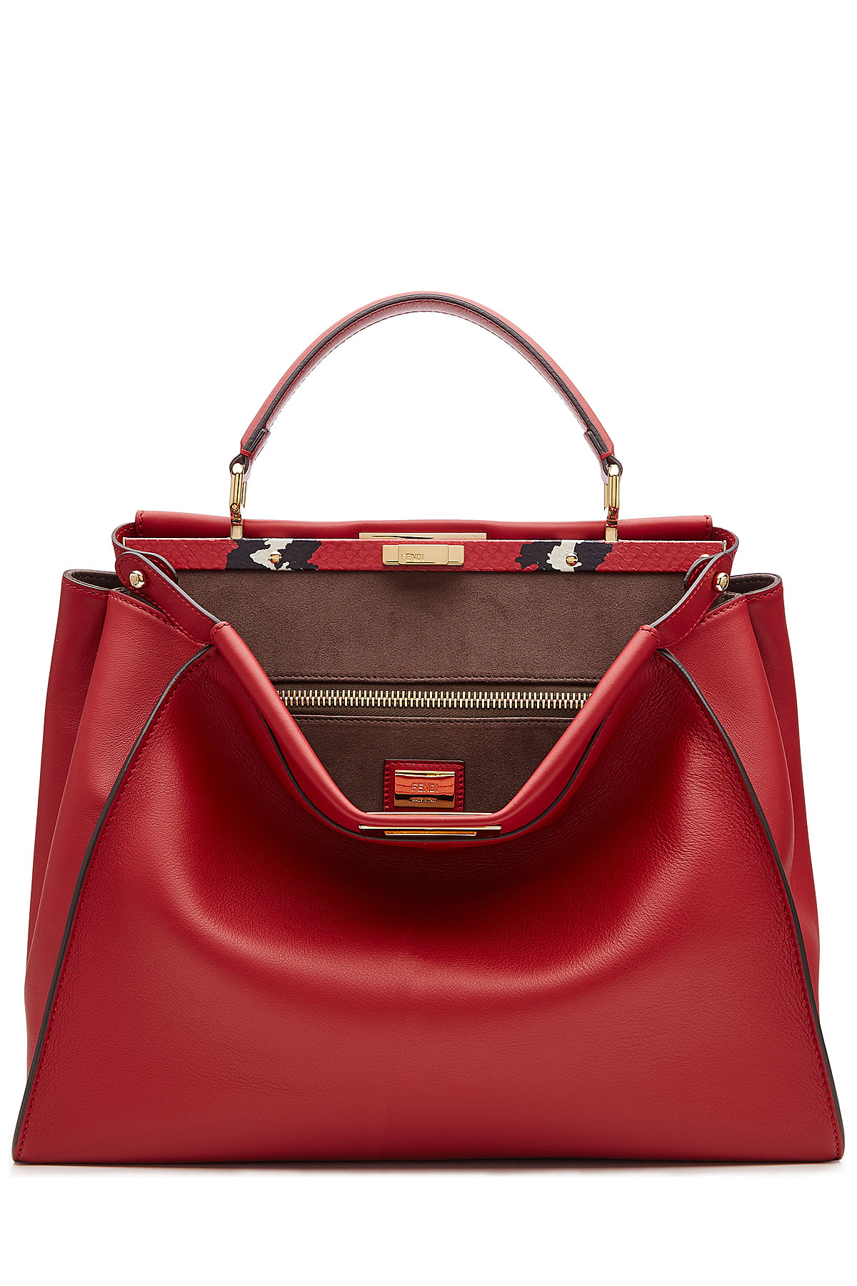 Lyst - Fendi Peekaboo Leather Tote - Red in Red acba374cabb6b