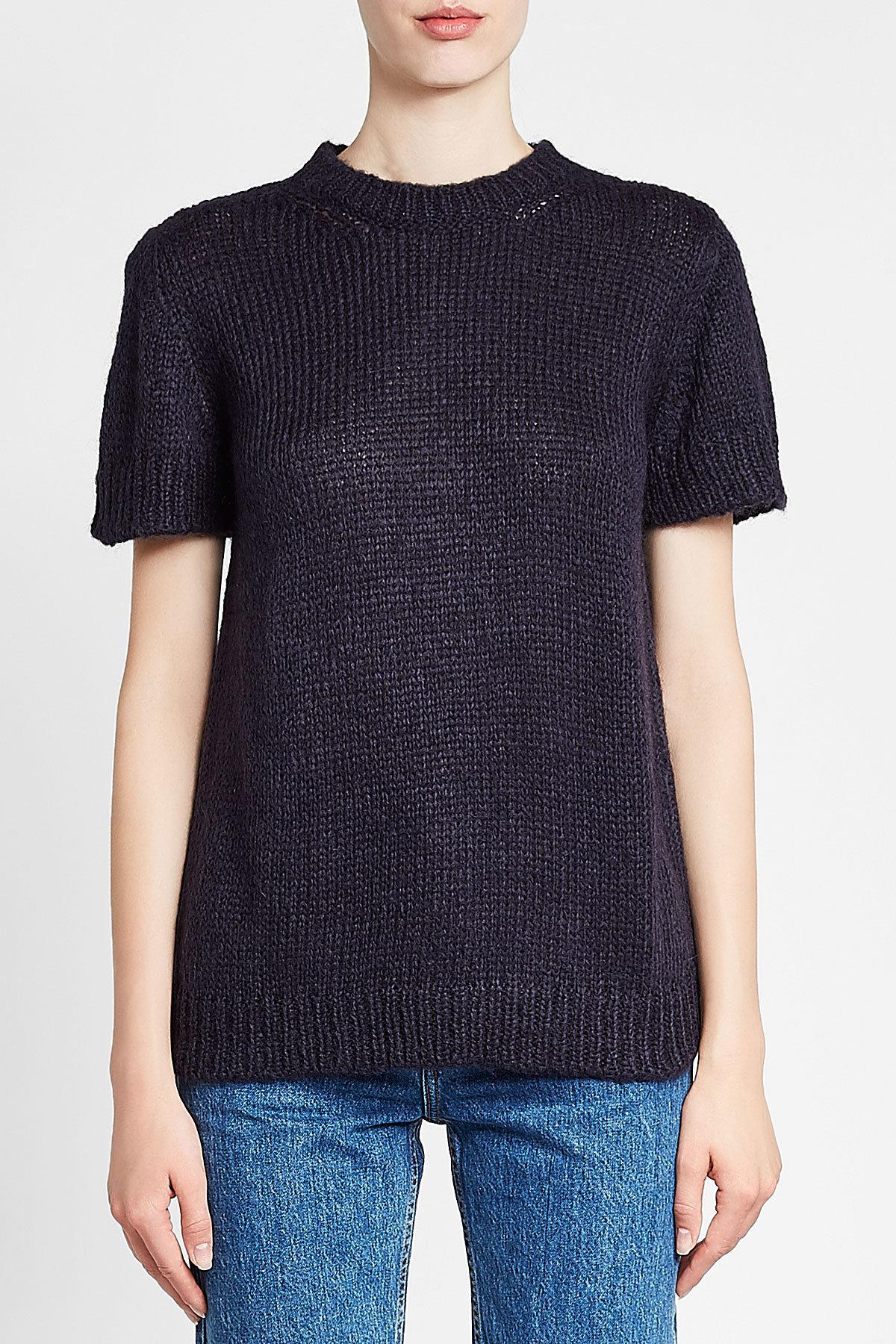 bc6a58ed108d A.P.C. Dorothee Short Sleeve Pullover With Mohair in Blue - Lyst