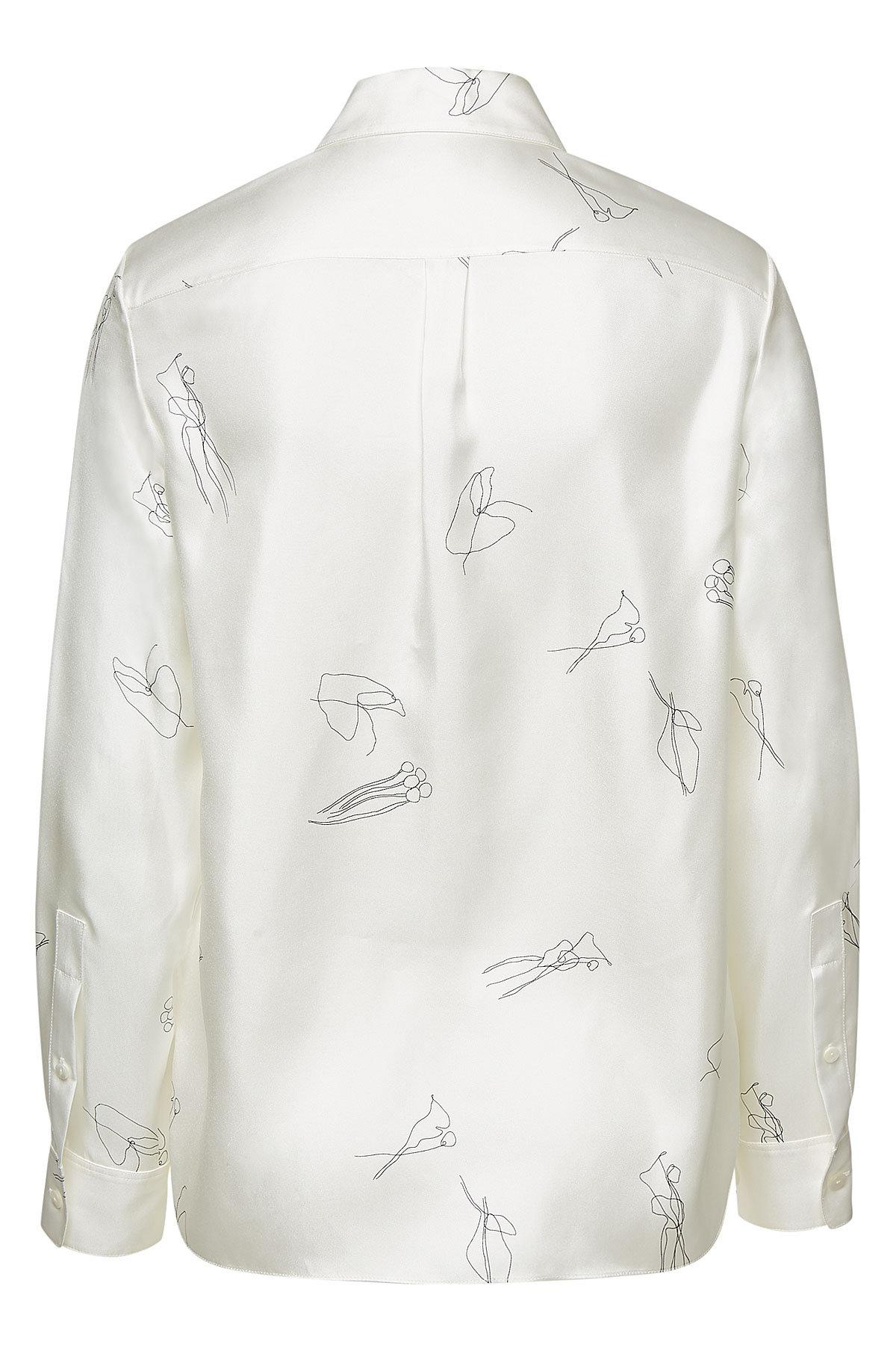 1eb0a73632 Theory - White Silk Twill Classic Straight Shirt With Abstract Print - Lyst.  View fullscreen