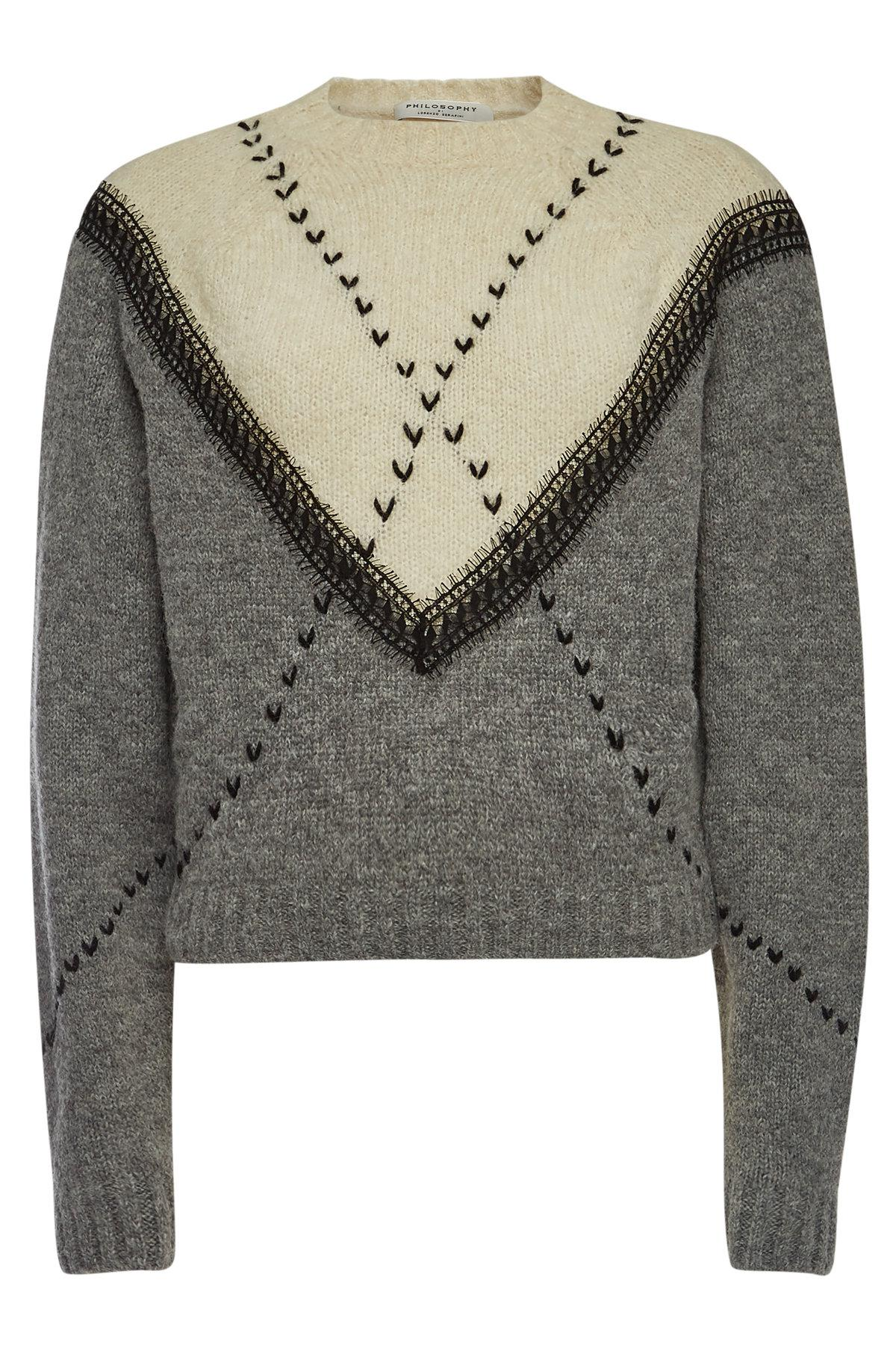 Philosophy Di Lorenzo Serafini. Women s Gray Embroidered Pullover With  Alpaca ... ba1f1c54f