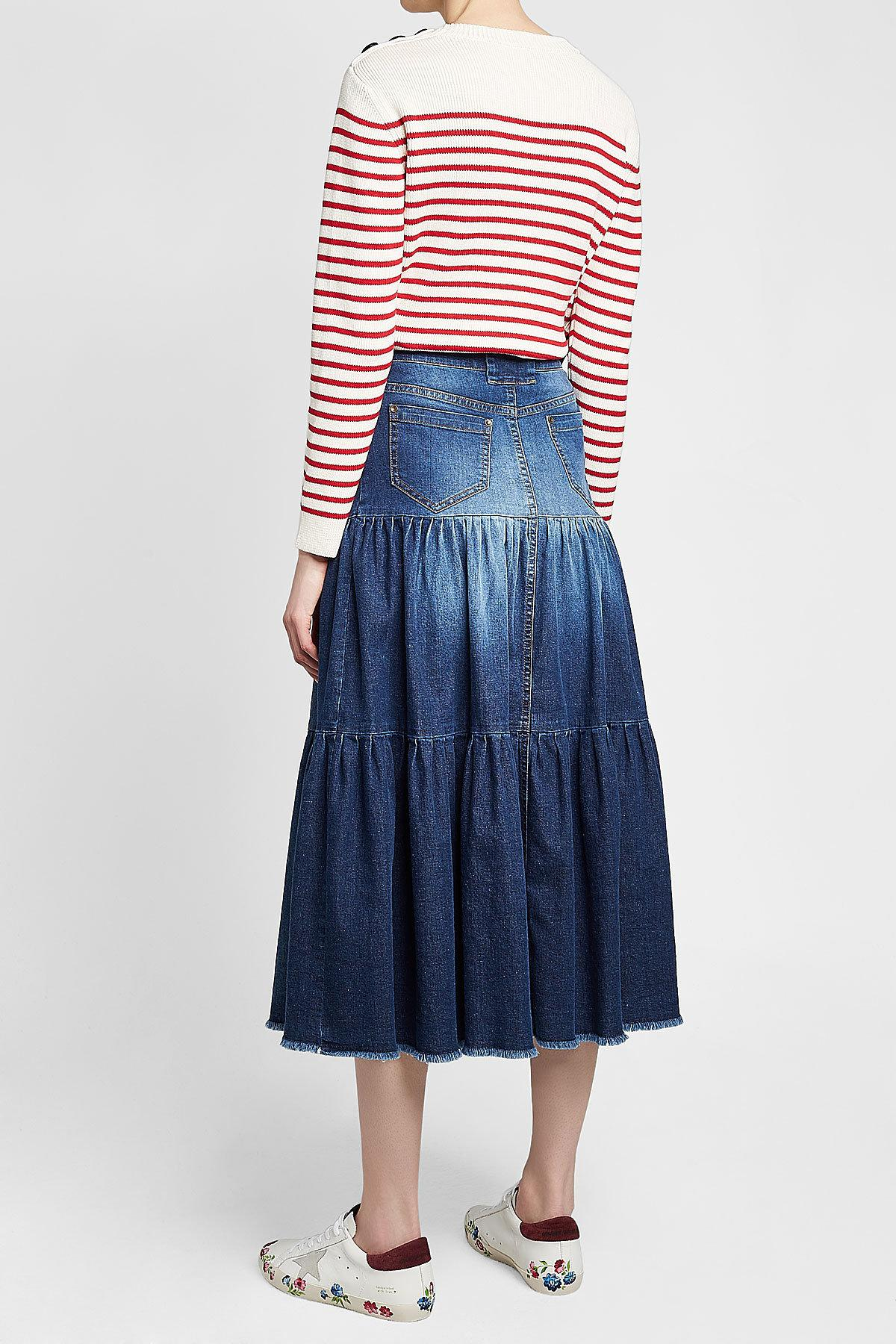 f93da84b47 RED Valentino Tiered Denim Midi Skirt in Blue - Lyst