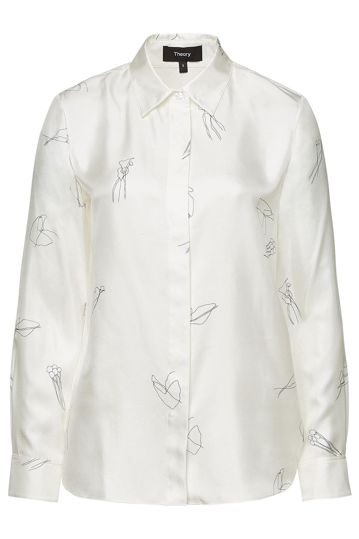 2fcdd944987 Theory - White Silk Twill Classic Straight Shirt With Abstract Print - Lyst.  View fullscreen