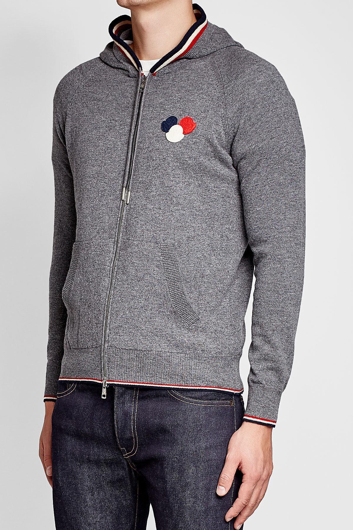 Moncler - Gray Sweat zippé à capuche en laine vierge for Men - Lyst.  Afficher en plein écran 20b19099907