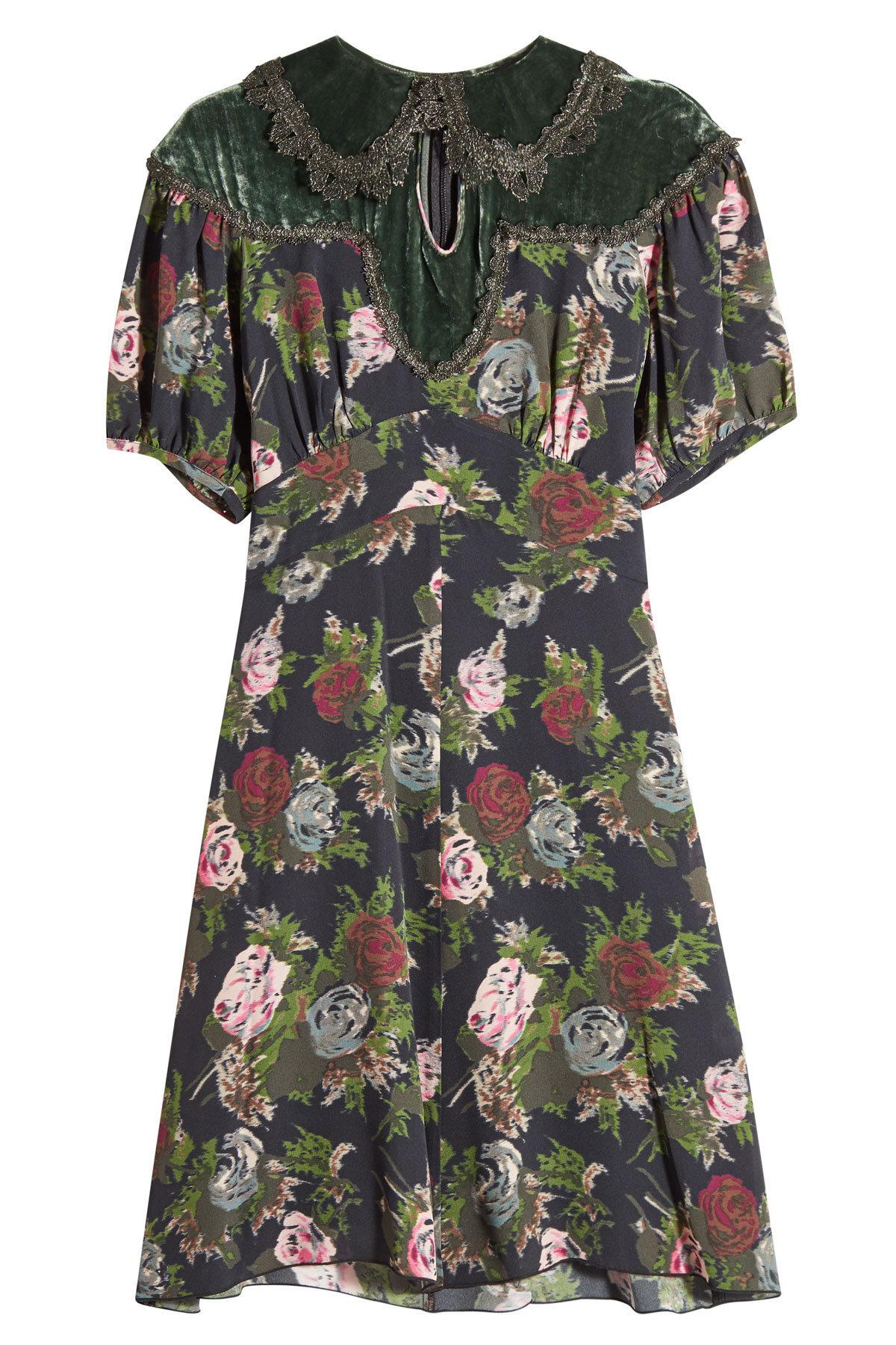Outlet 2018 New Anna Sui Woman Cutout Velvet-paneled Floral-print Silk Dress Dark Green Size 10 Anna Sui Buy Cheap Store cNmbG1Pd0v