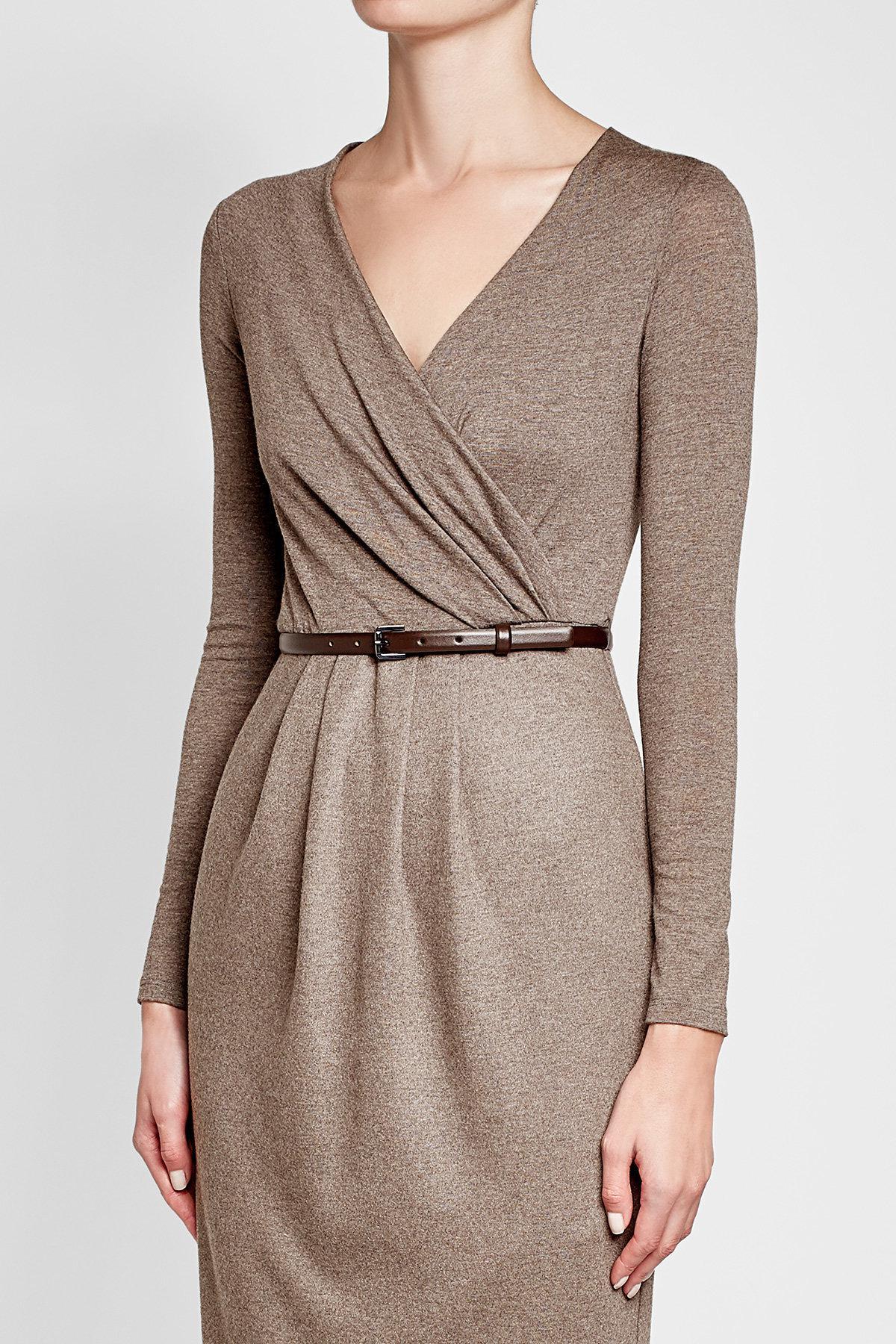 0fd8d86955f Lyst - Max Mara Virgin Wool Dress With Leather Belt