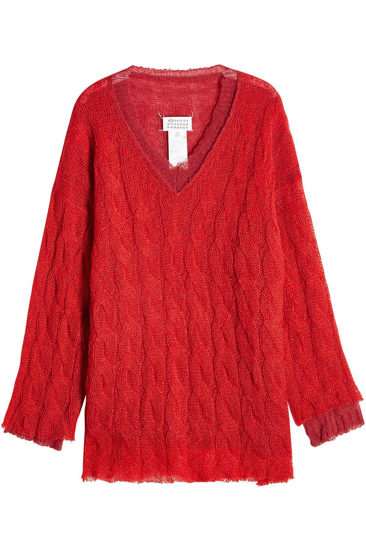 Lyst - Maison Margiela Cable Knit Pullover With Alpaca 6da4174d3