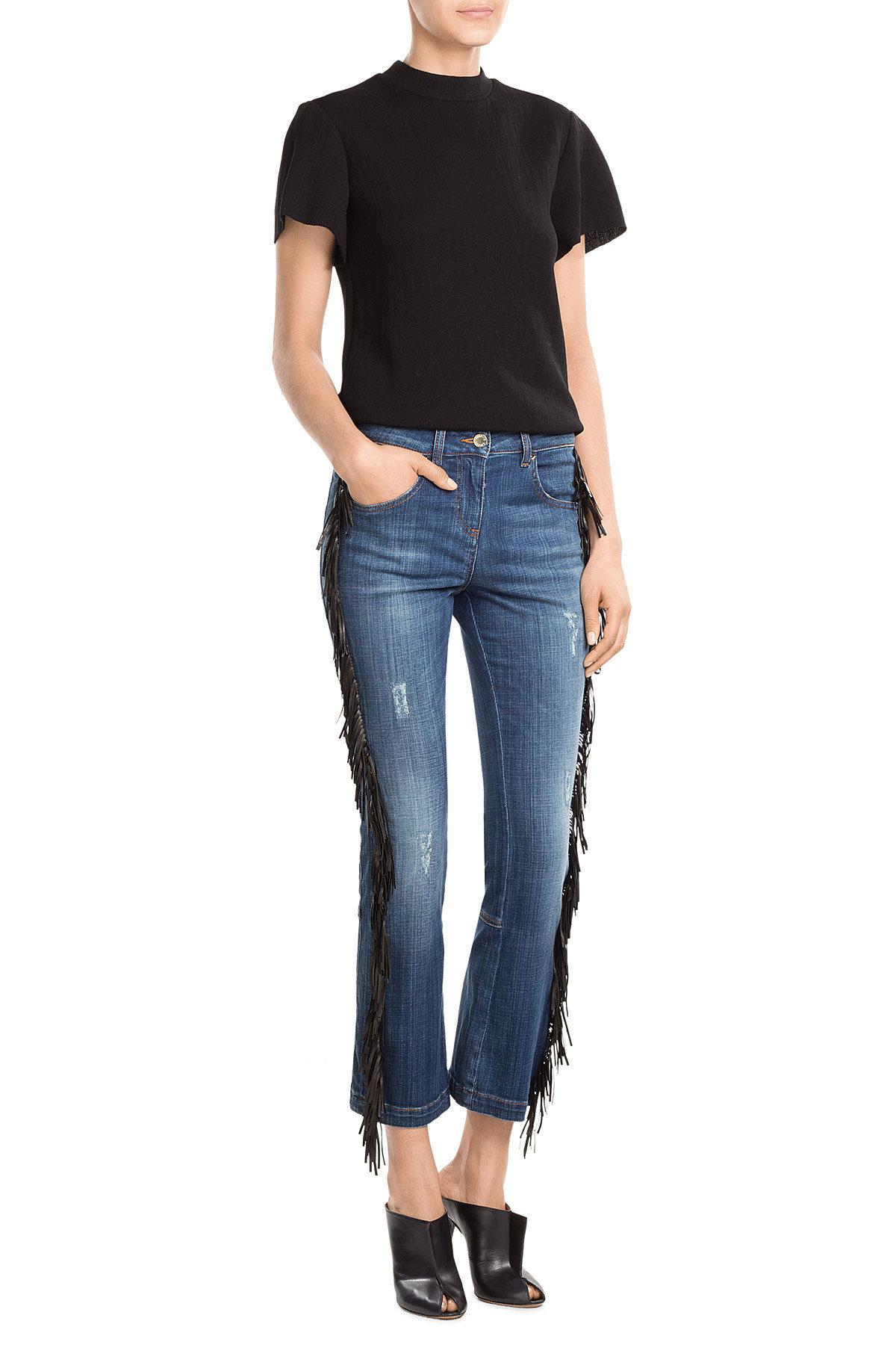 Lyst - Roberto Cavalli Straight Jeans With Leather Fringe in Blue 5ab02763f