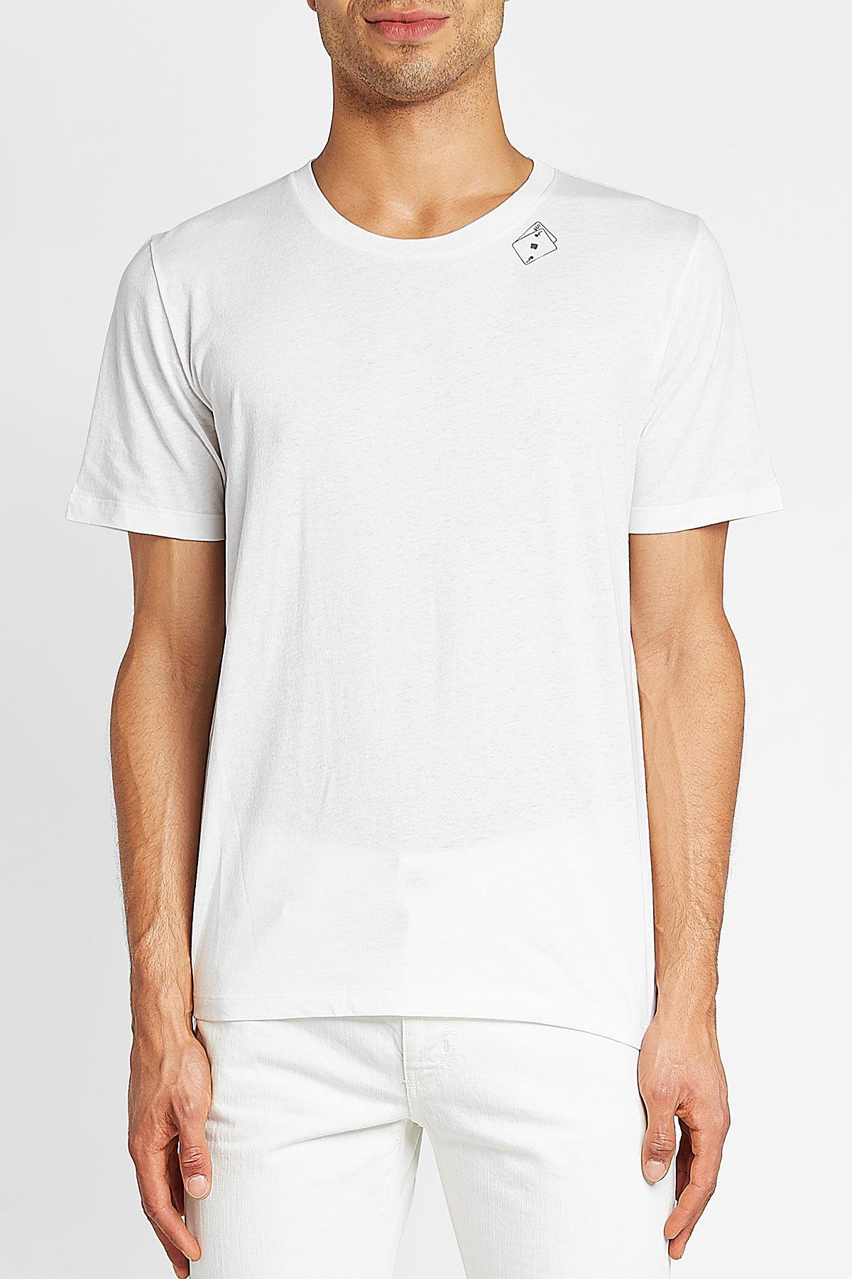 hombres Saint algodón Laurent camiseta para Card Poker Lyst Impreso White BqSARwB
