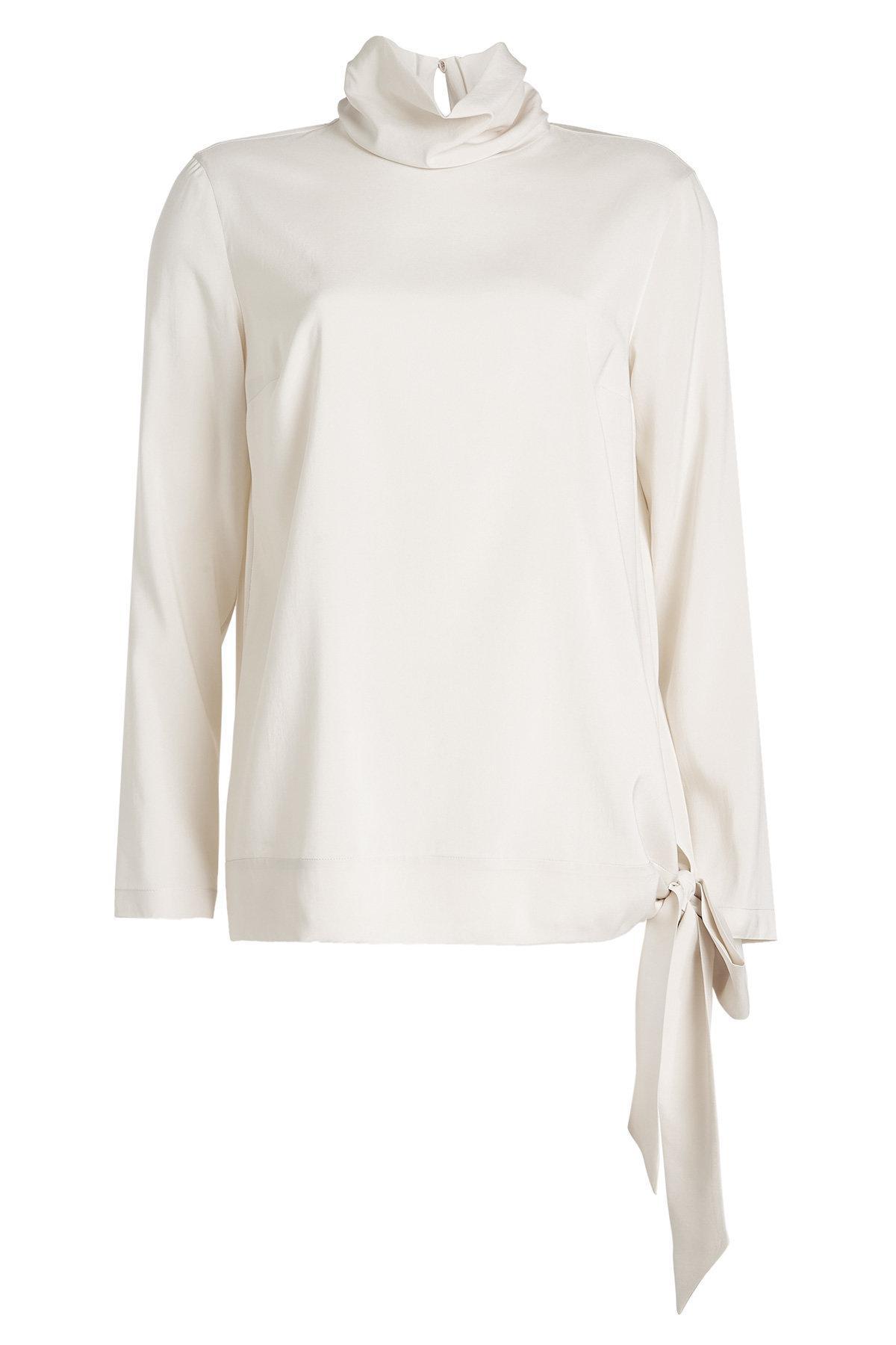 834b1dc480 Brunello Cucinelli Turtleneck Silk Blouse in White - Lyst