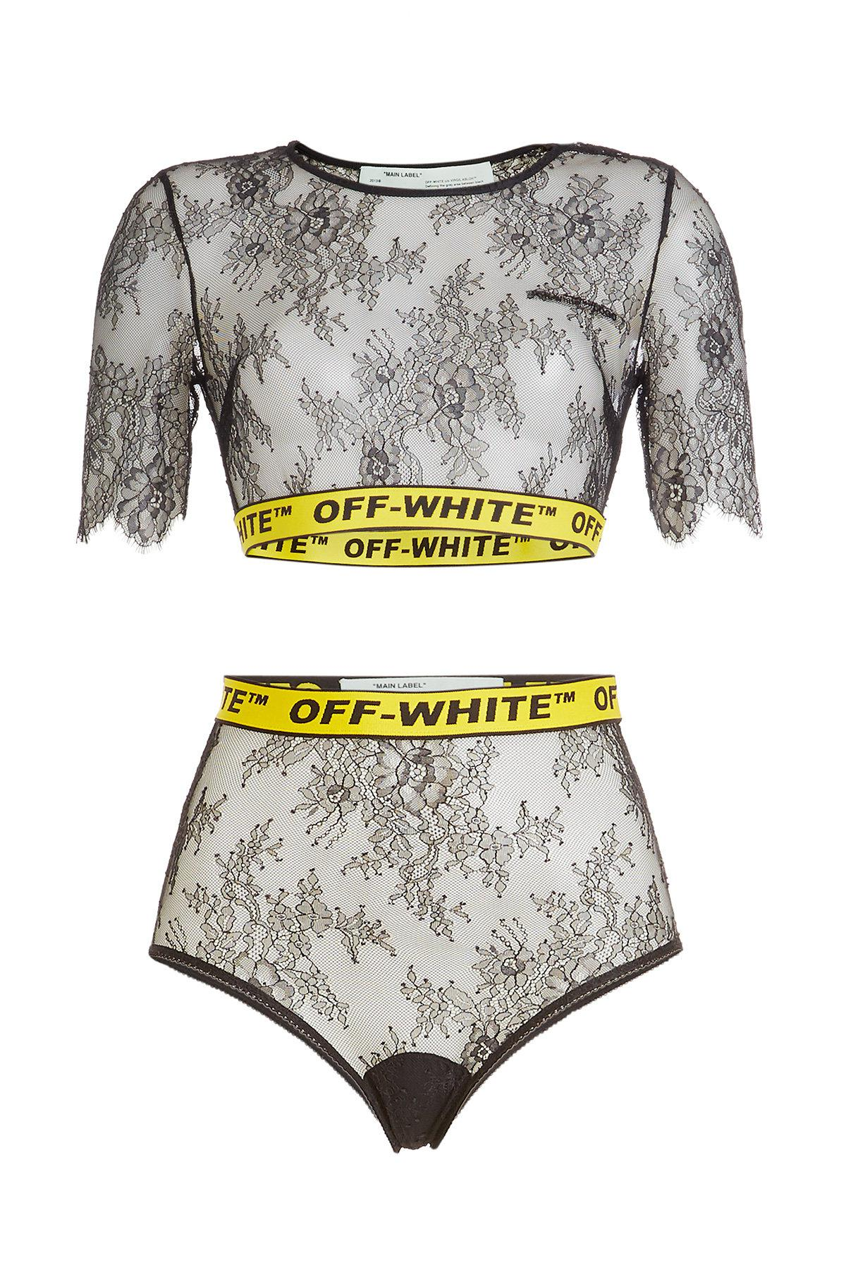 077e152436 Off-White c o Virgil Abloh Lace Cropped Top - Lyst