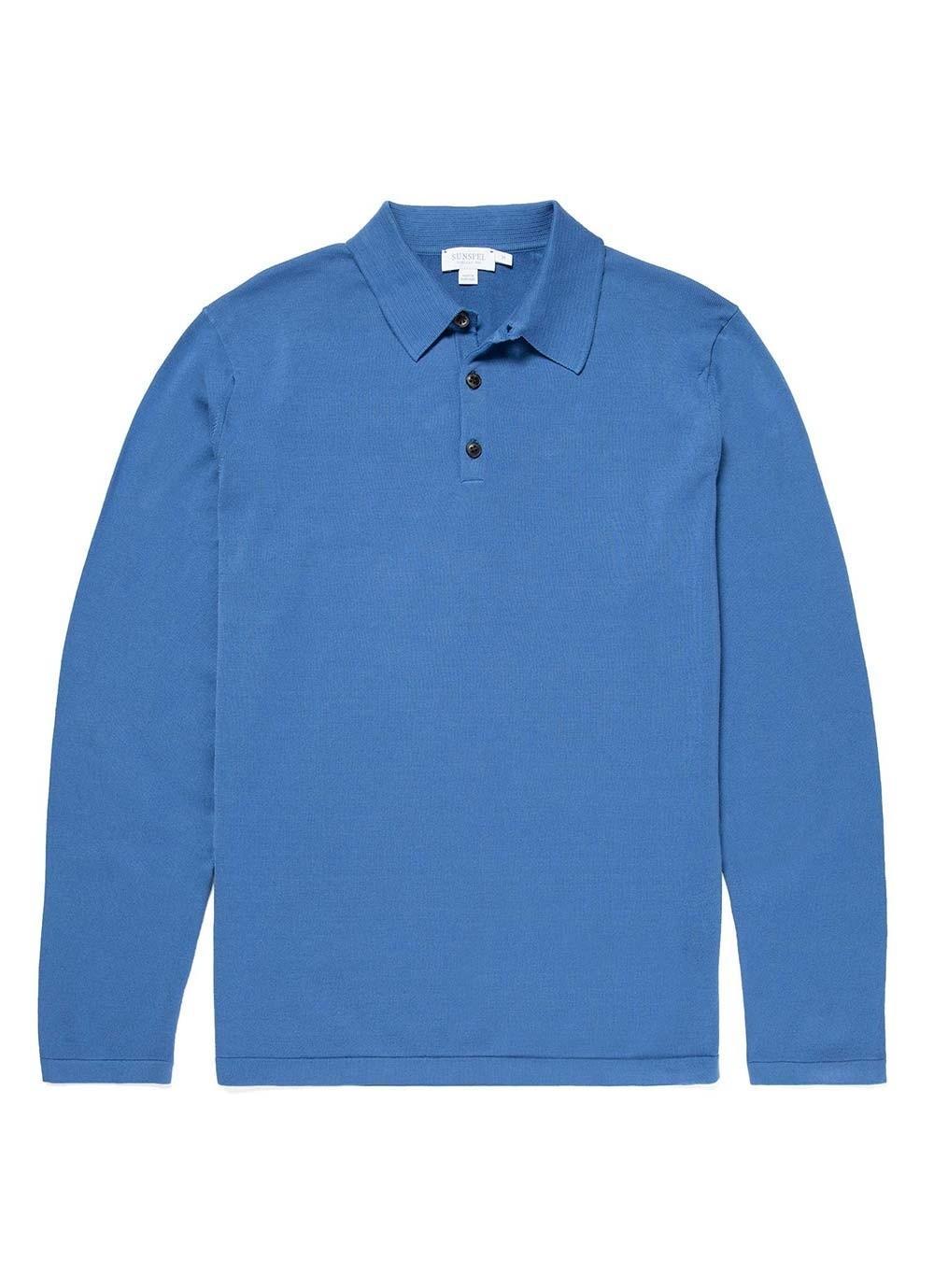 bf9bbde4 Sunspel Men's Sea Island Cotton Knit Long Sleeve Polo In Mid Indigo ...