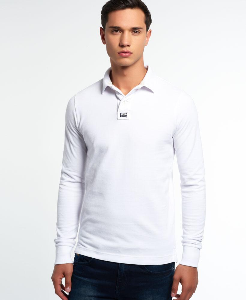 Superdry classic long sleeve pique polo shirt in white for for Mens long sleeve pique polo shirts