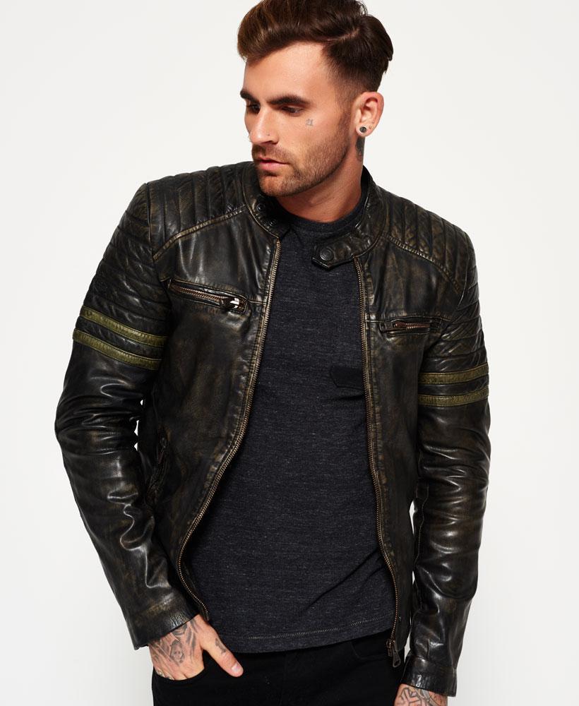 Leather jacket superdry - Superdry Men S Black Endurance Speed Leather Jacket