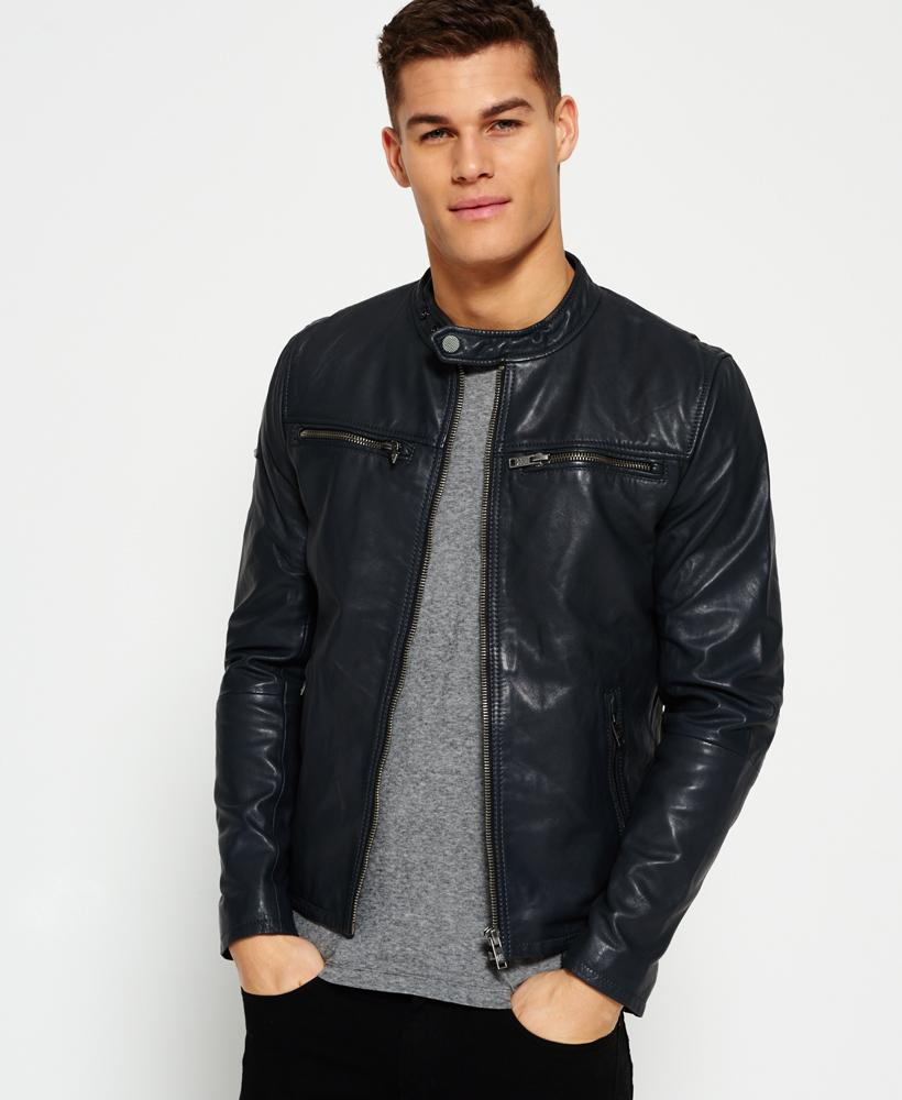 superdry classic real hero biker leather jacket in gray