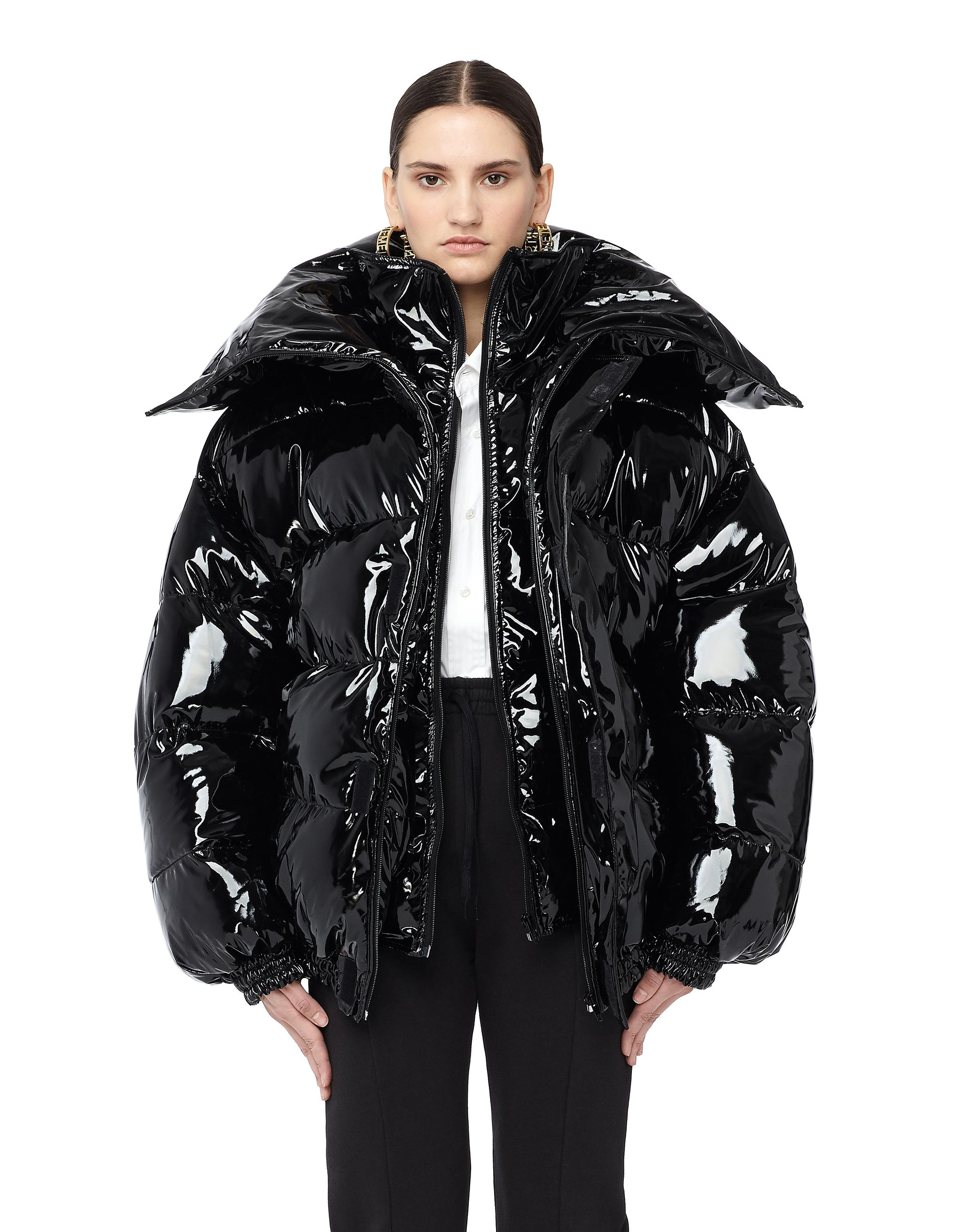 Vetements Miss Webcam Vinyl Puffer Jacket In Black Save