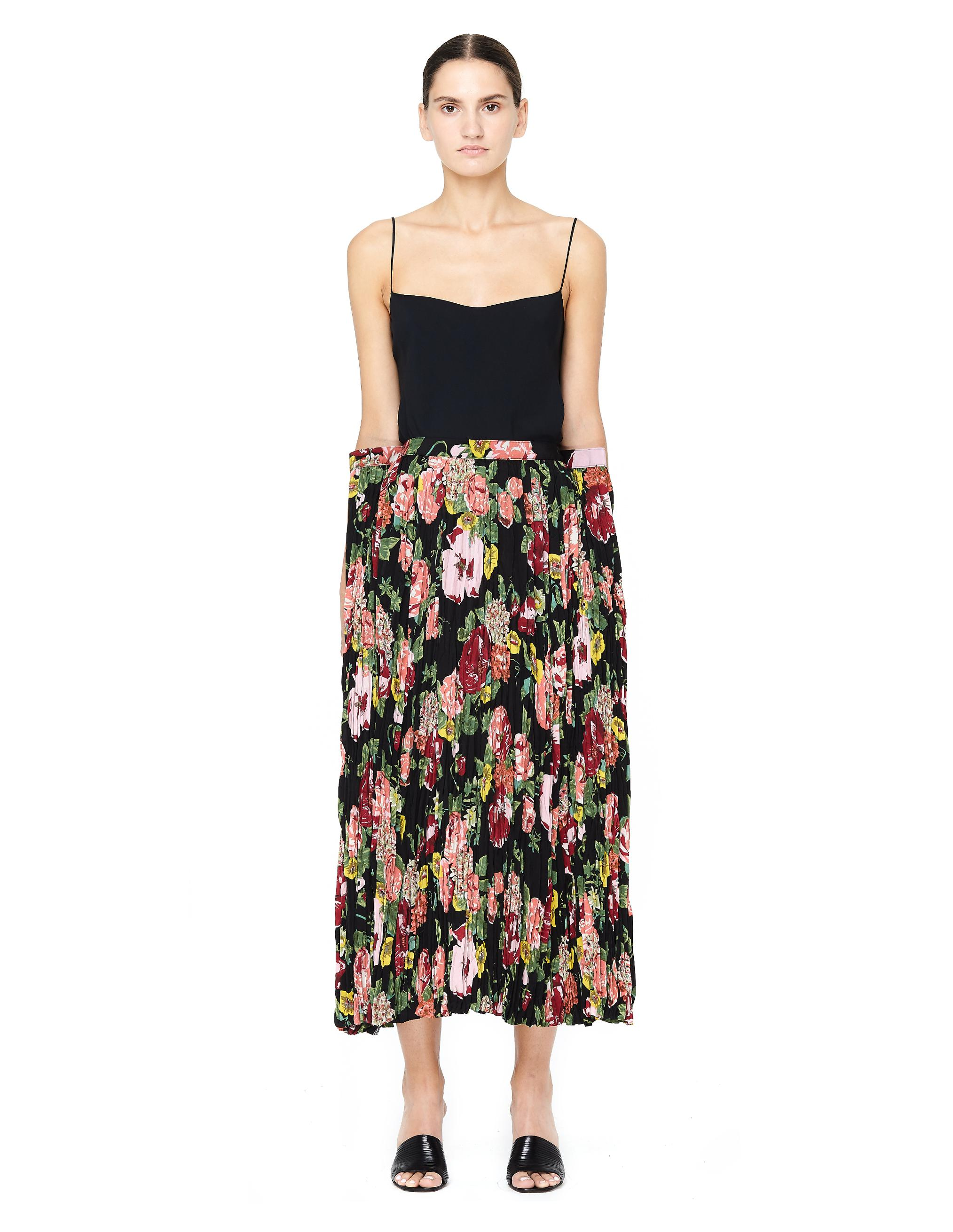 de75855b9 Black Floral Print Pleated Midi Skirt - raveitsafe