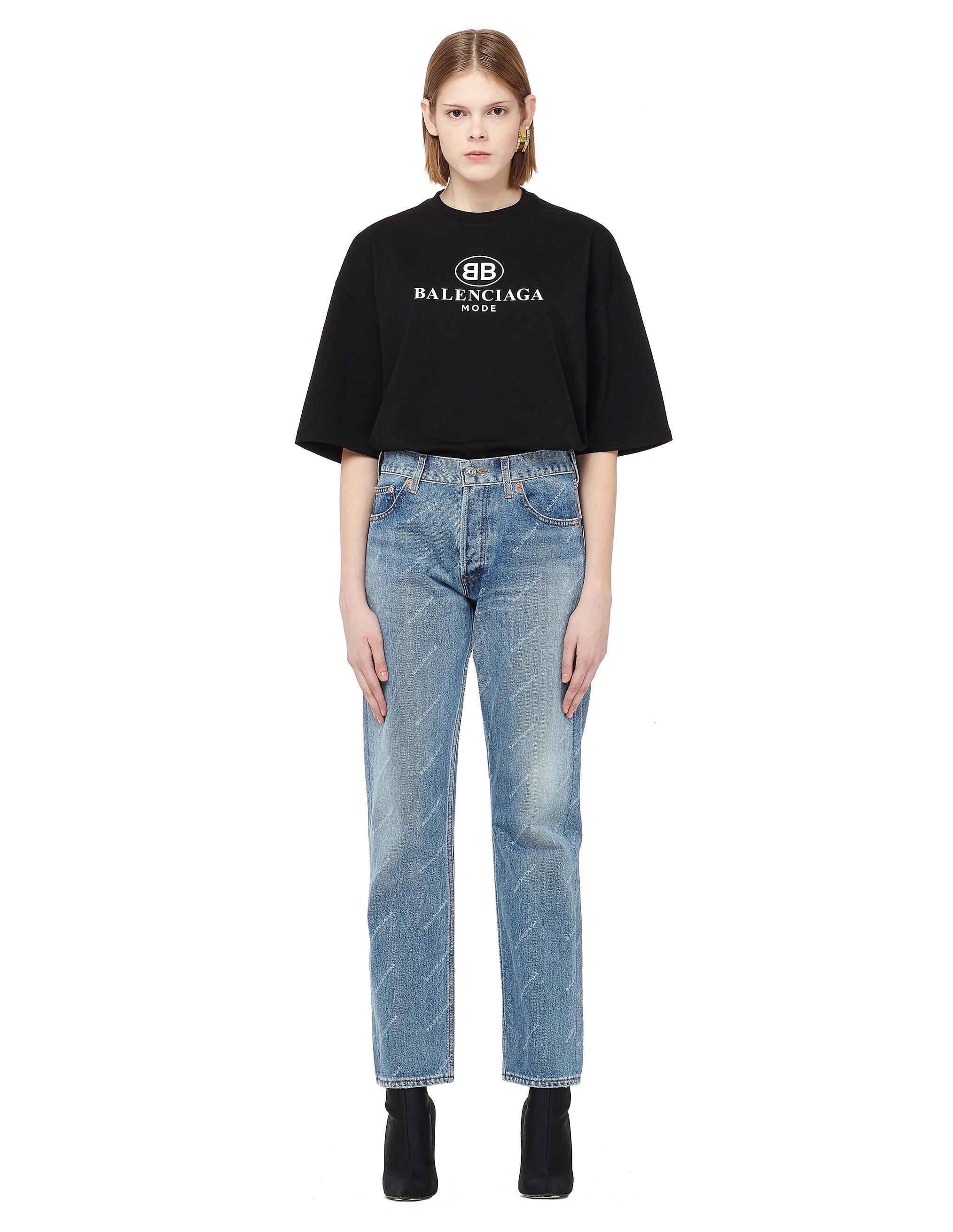 59bd497f35b4 Lyst - Balenciaga Logo Printed Jeans in Blue