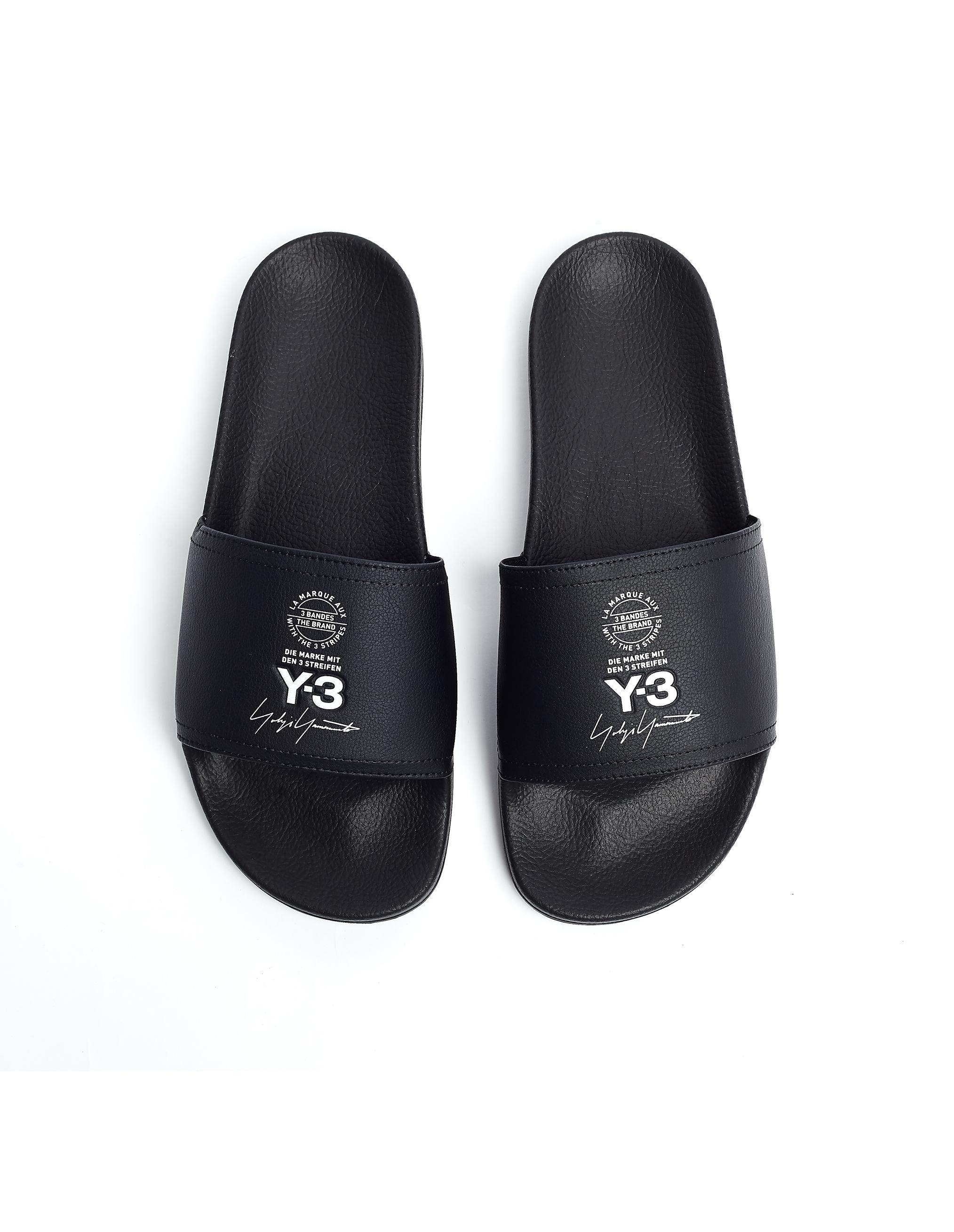 b5a710035 Y-3 - Black Logo Adilette Slides for Men - Lyst. View fullscreen