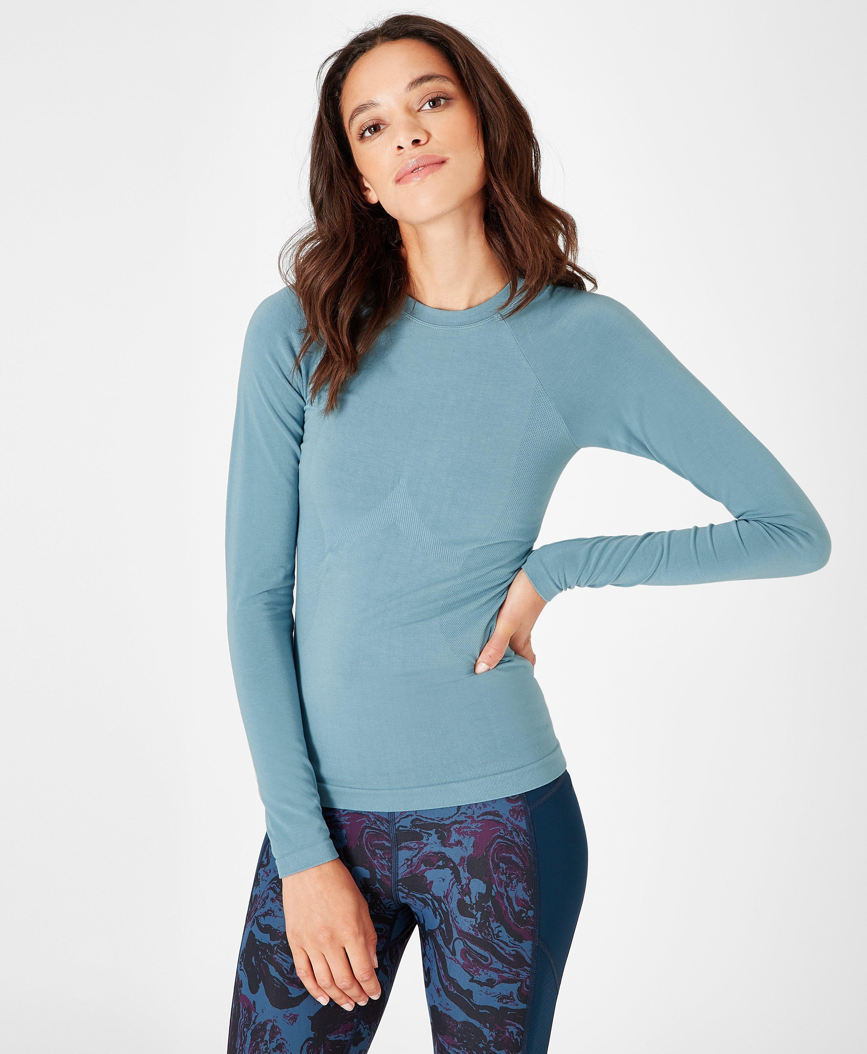 7f89dfd9f612c Lyst - Sweaty Betty Glisten Bamboo Long Sleeve Workout Top in Blue
