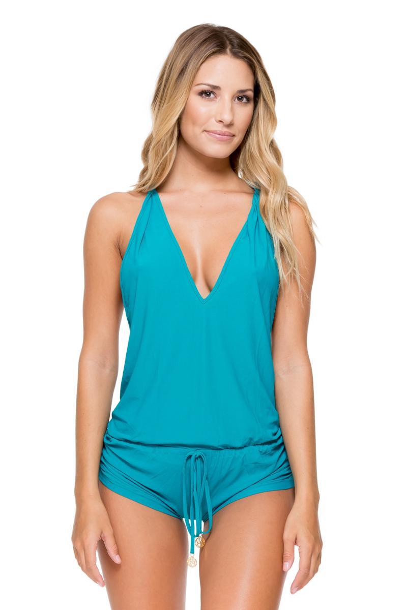 9f805030eda9c Luli Fama Cosita Buena T Back Romper Mini Dress Swim Cover Up - Lyst