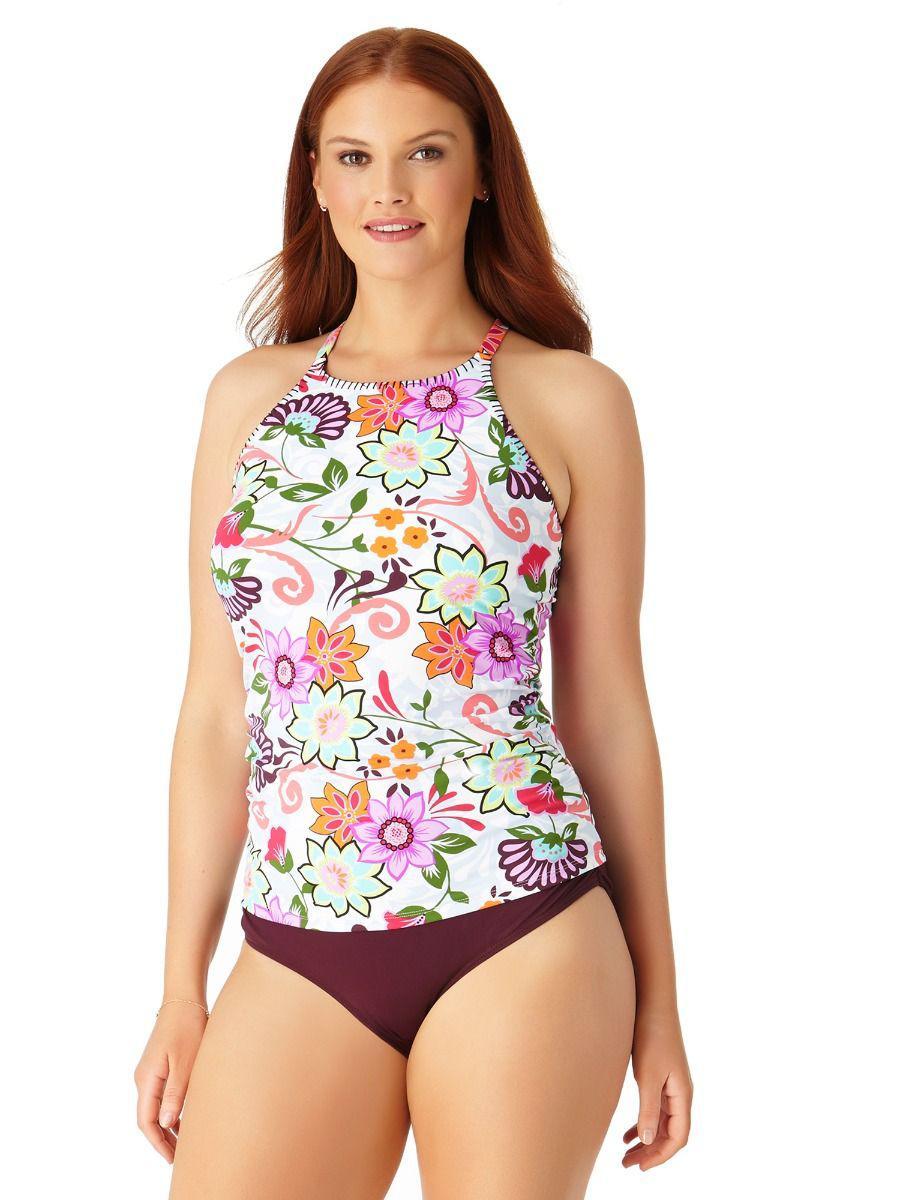 8437ce47c60 Anne Cole. Women s Plus Size Fleetwood Floral High Neck Tankini Swim Top