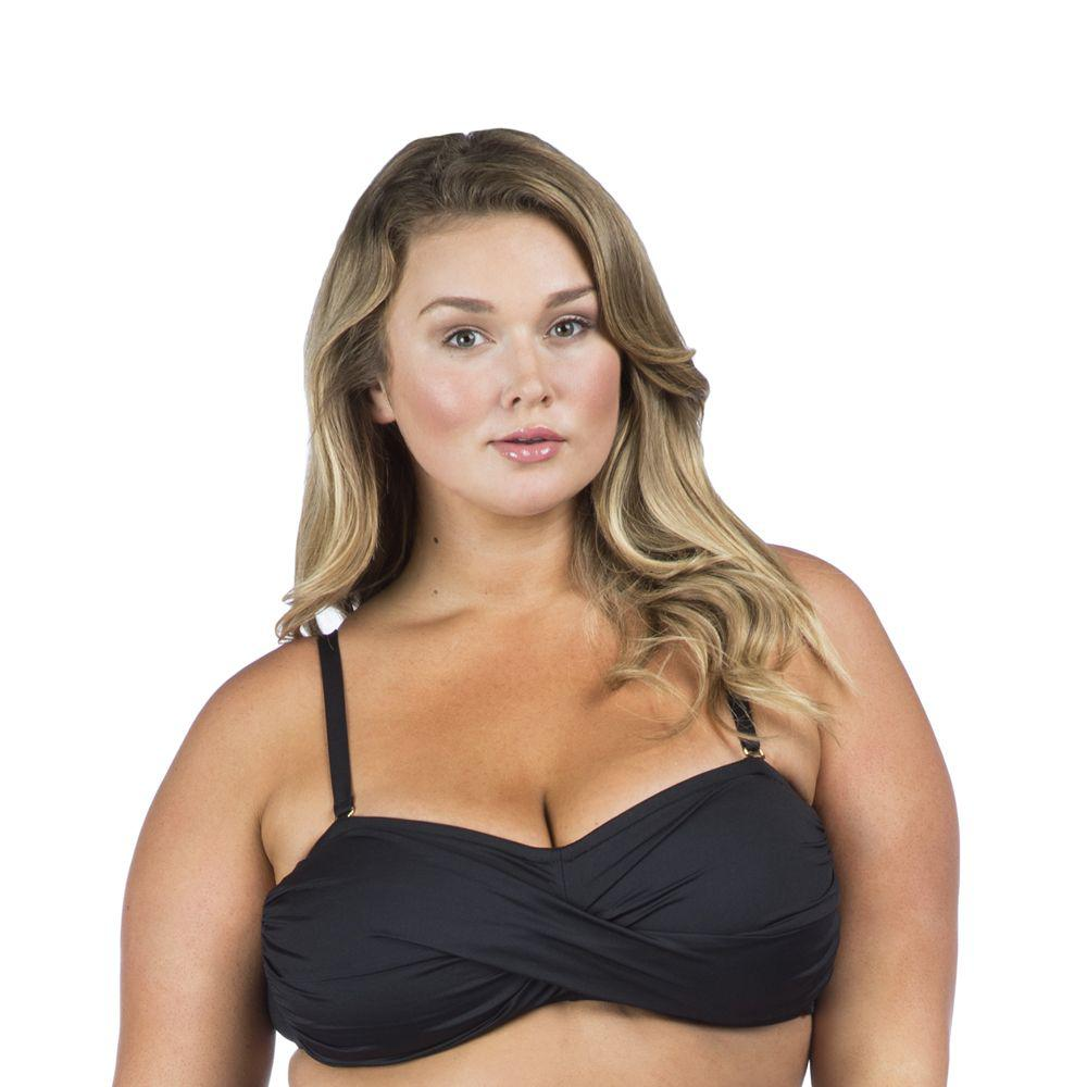 6ece4f9683186 Lyst - La Blanca Plus Size Island Goddess Bandeau Bra Swim Top in Black