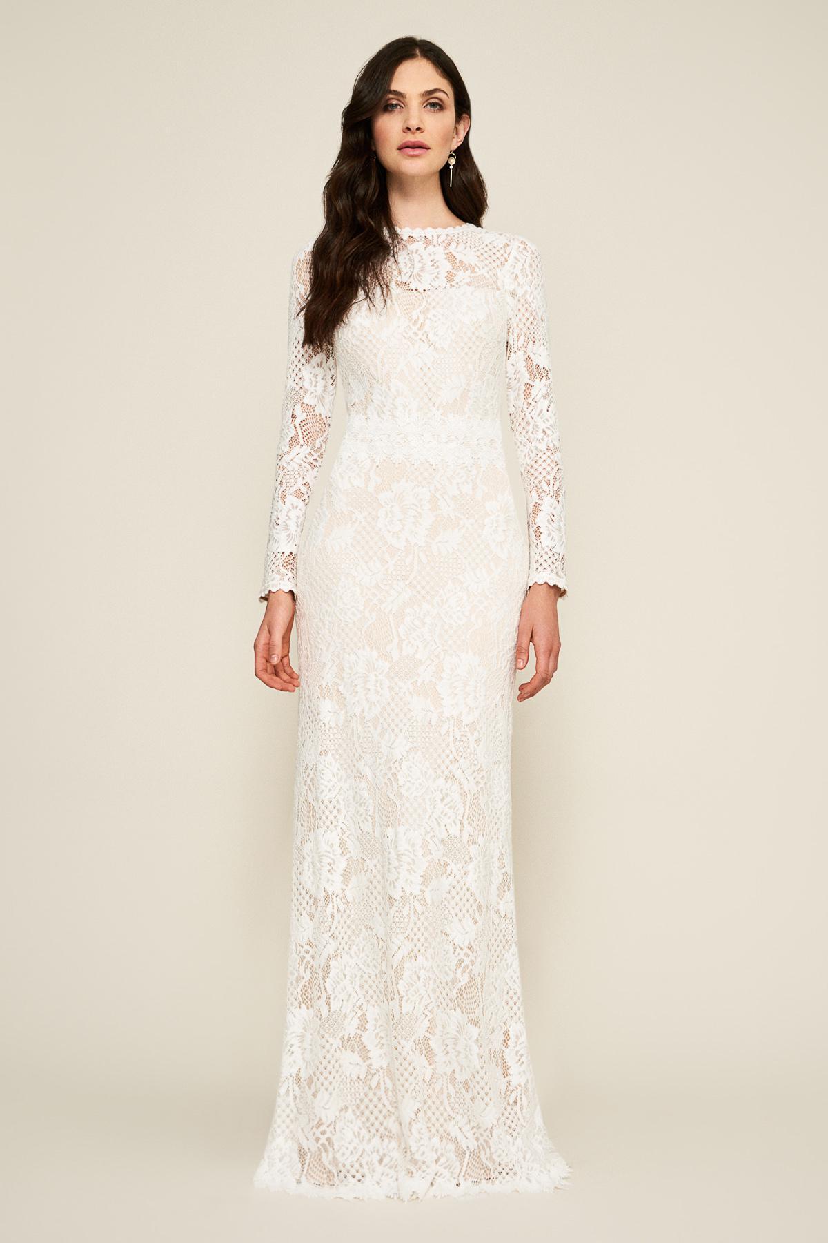 Lyst - Tadashi Shoji Mckinney Long-sleeve Lace Gown