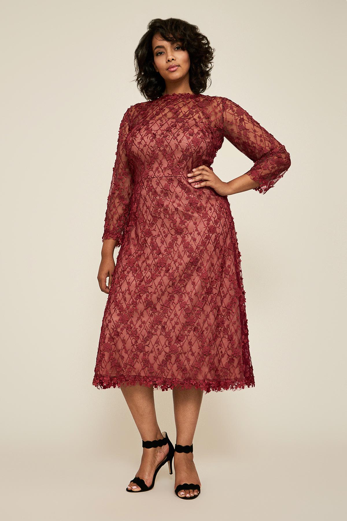 ac562a7aa3d90 Lyst - Tadashi Shoji Binx Embroidery Tea-length Dress - Plus Size in Red