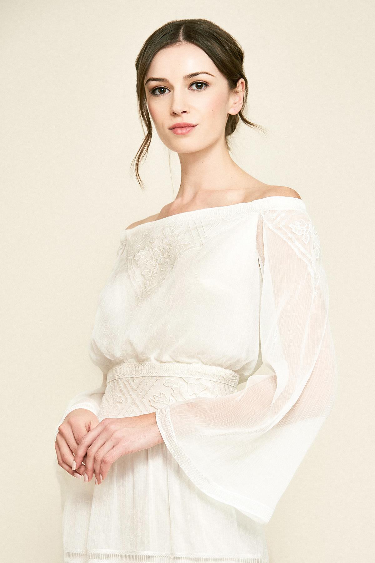 7c69e7575fe80 Tadashi Shoji - Natural Seles Off-the-shoulder Crinkle Chiffon Gown - Lyst.  View fullscreen