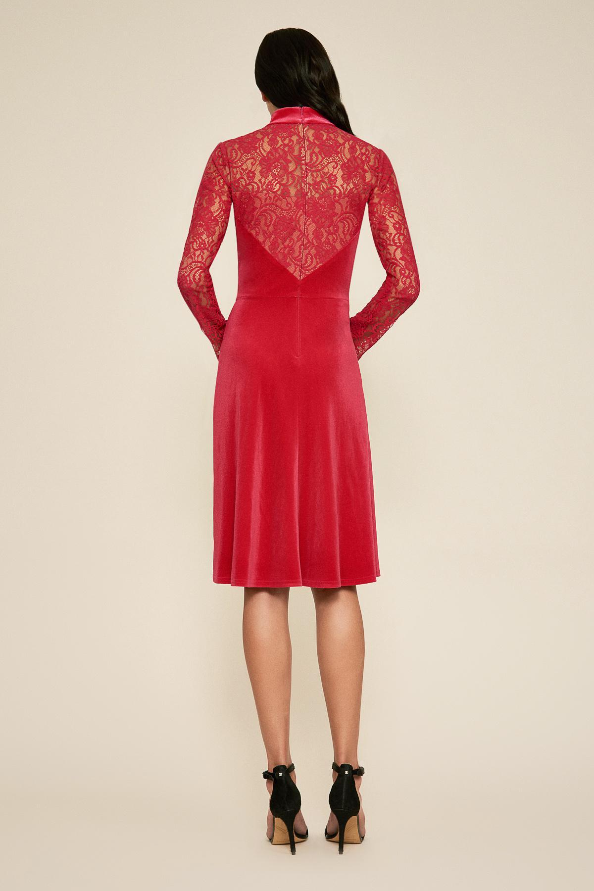 Tadashi Shoji - Red Tatis Long-sleeve Velvet Dress - Lyst. View fullscreen 701ab9a3b