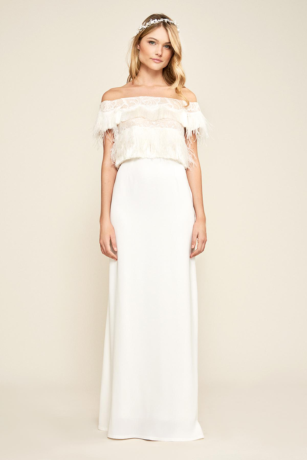 03472d2f2bd Tadashi Shoji Janessa Off-the-shoulder Gown in White - Lyst