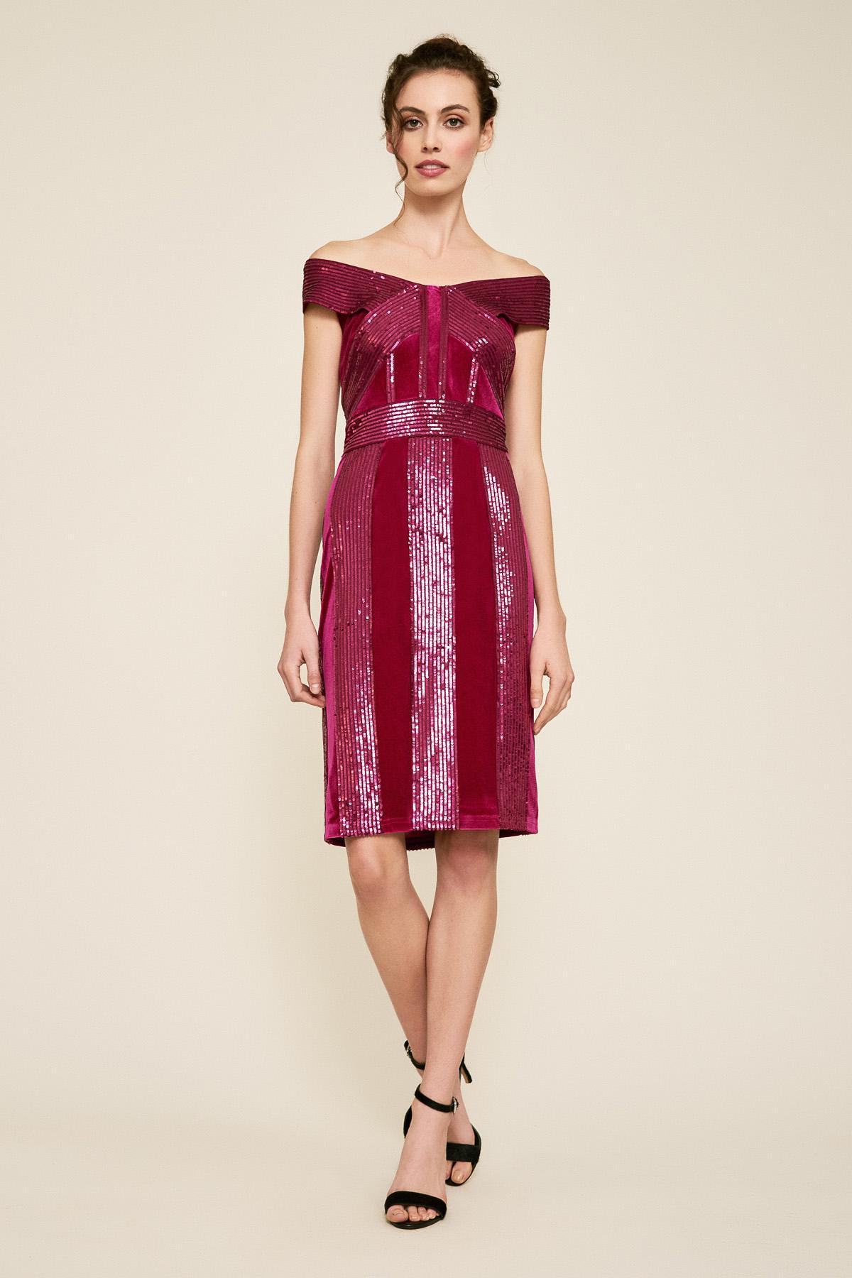Lyst - Tadashi Shoji Rhea Velvet   Sequin Stripe Dress in Red 4f97ffa17