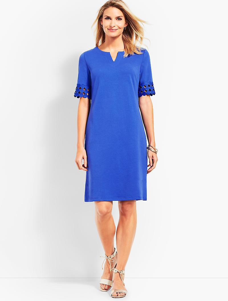 Talbots Women S Blue Lace Elbow Shift Dress