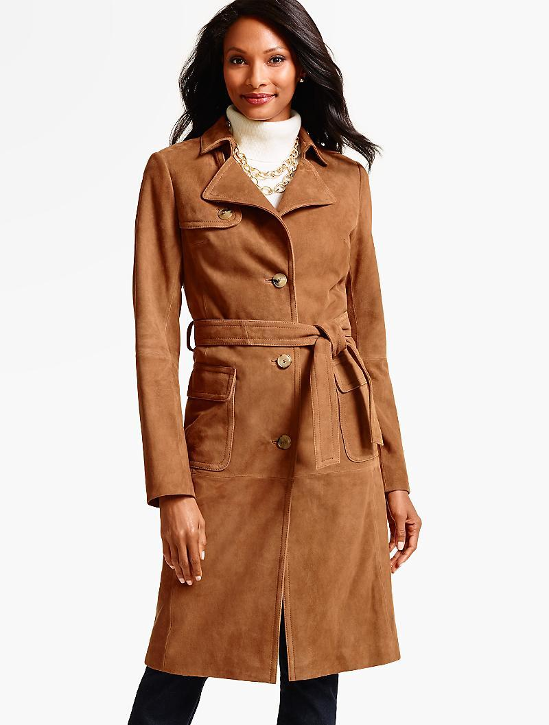 Lyst Talbots Suede Trench Coat In Brown