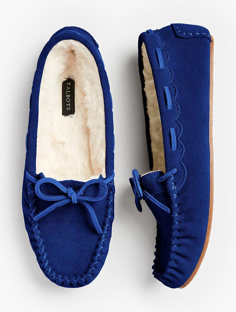 c0c6885fd5f017 Lyst - Talbots Ruby Shearling-lined Moccasin Slippers in Blue
