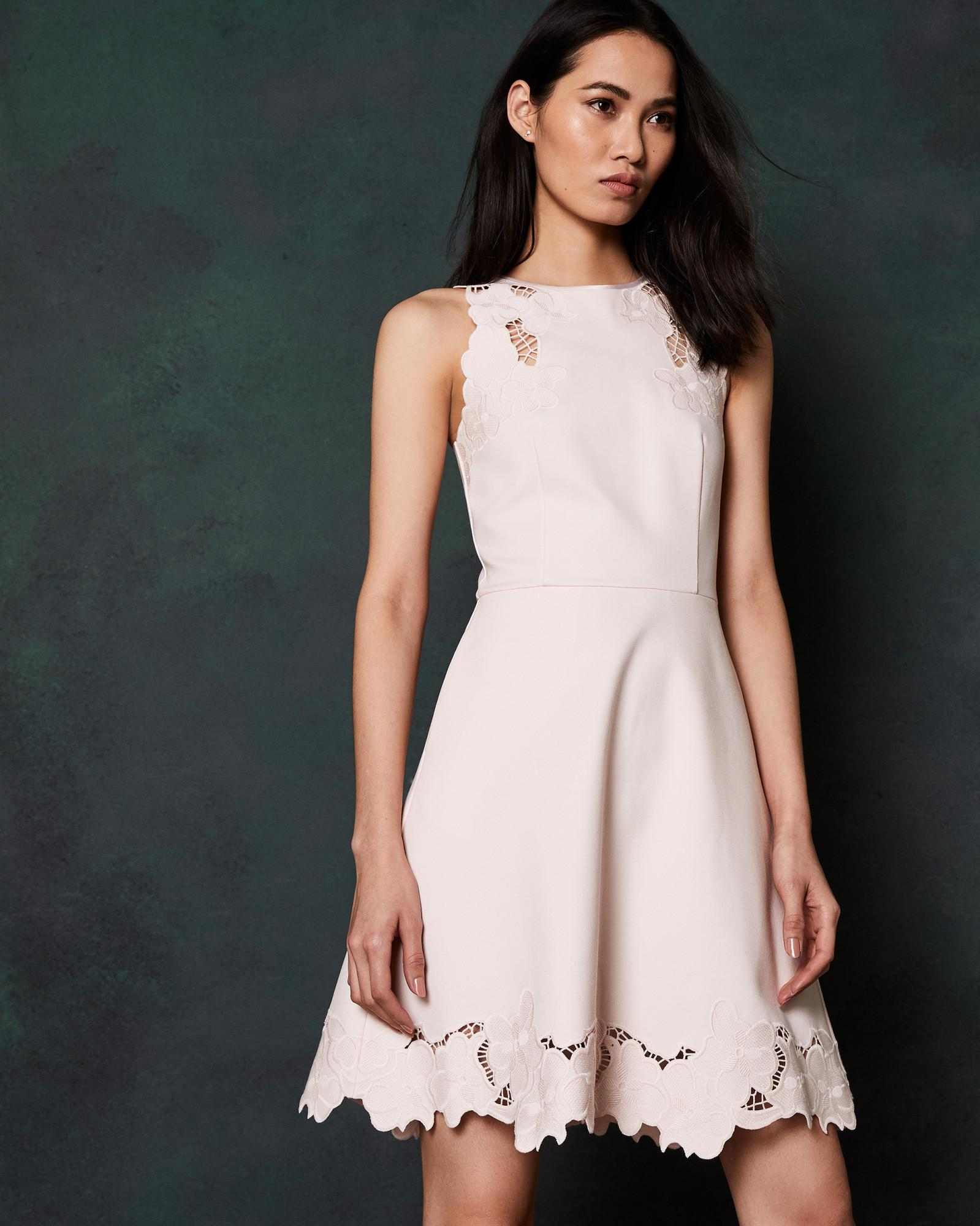 3370871010 Ted Baker Embroidered Skater Dress in Pink - Lyst