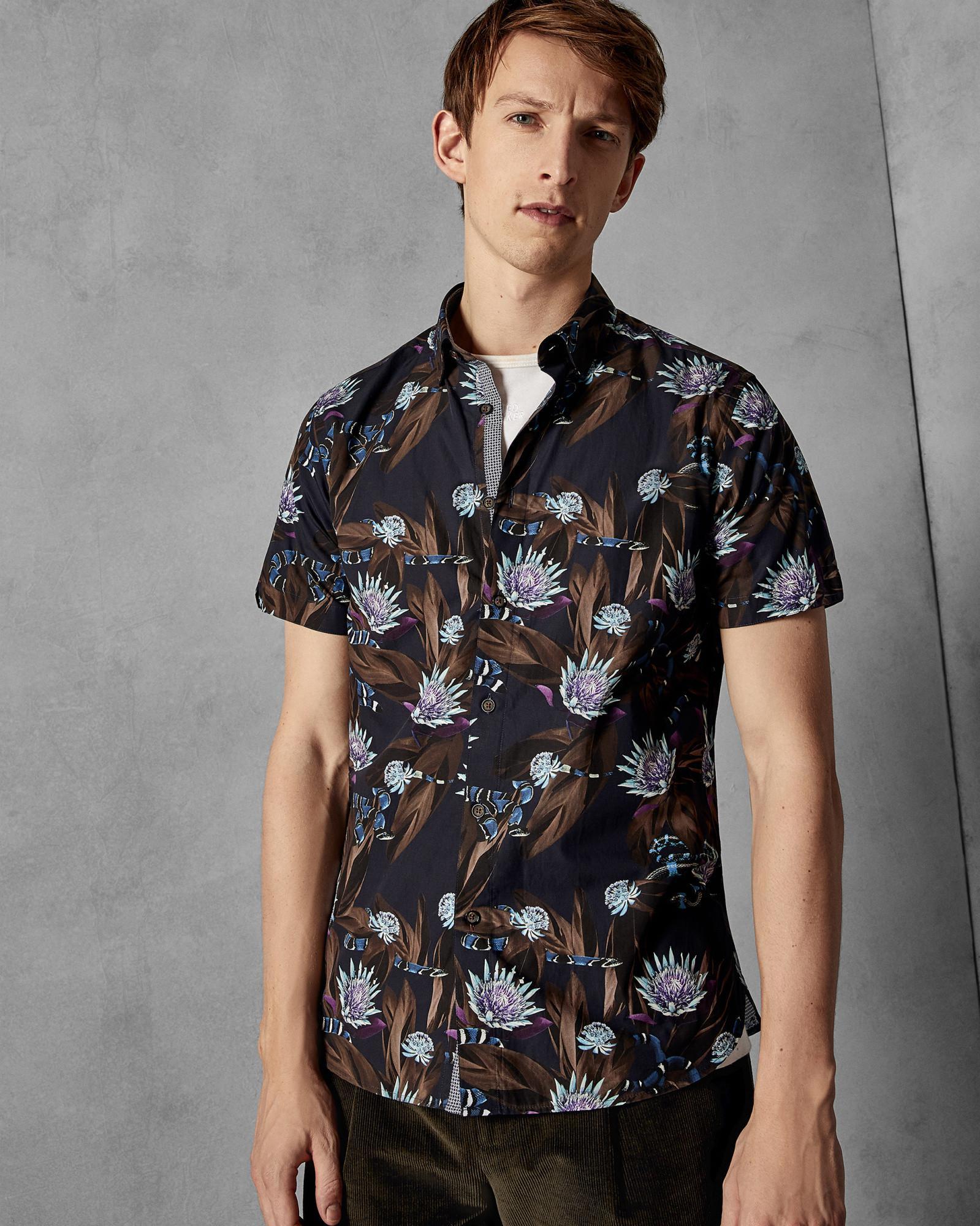 2eab1ec64 Ted Baker Short Sleeved Cotton Snake Print Shirt in Blue for Men - Lyst