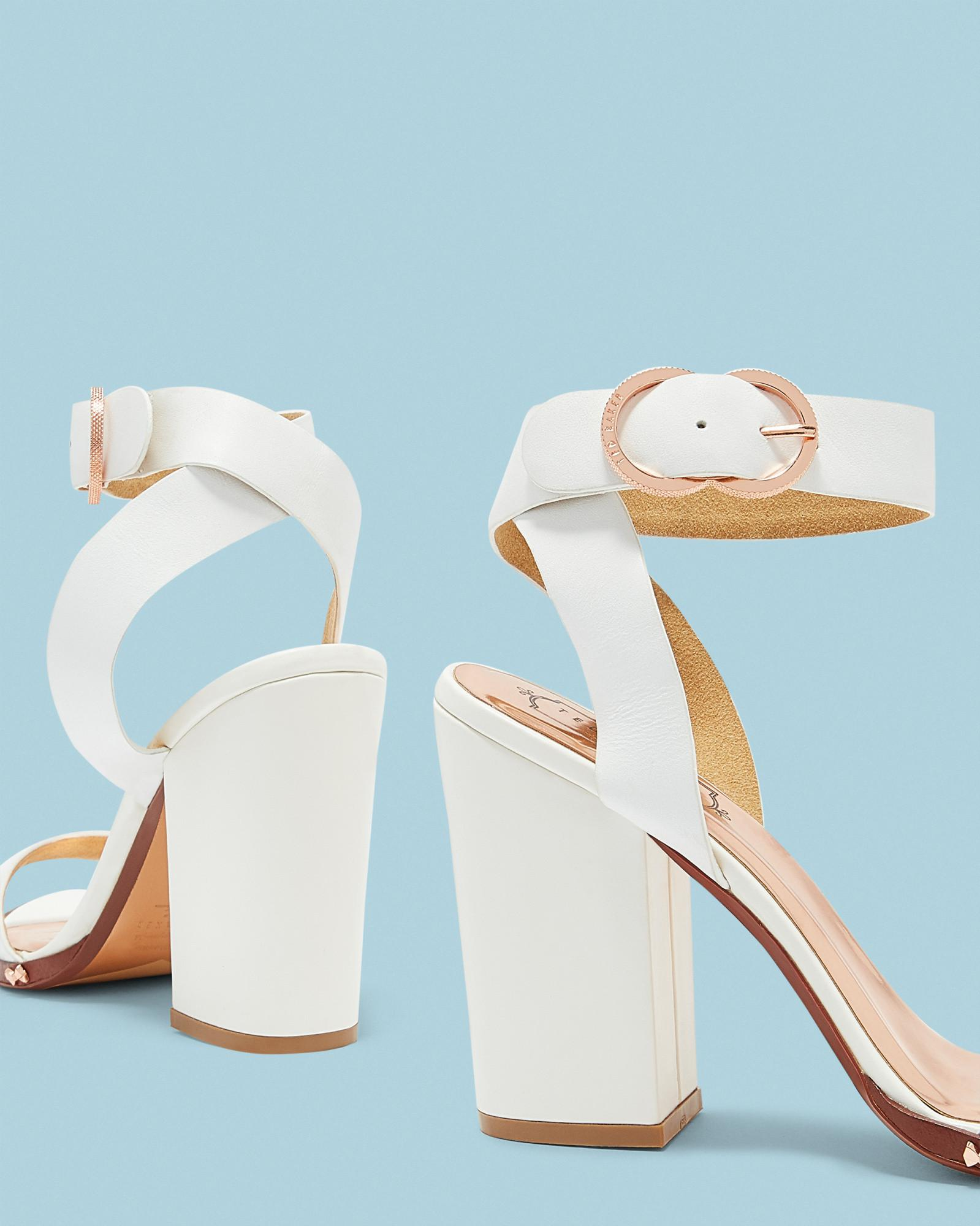 f59e783006b Lyst - Ted Baker Studded Bow Block Heel Sandals in White