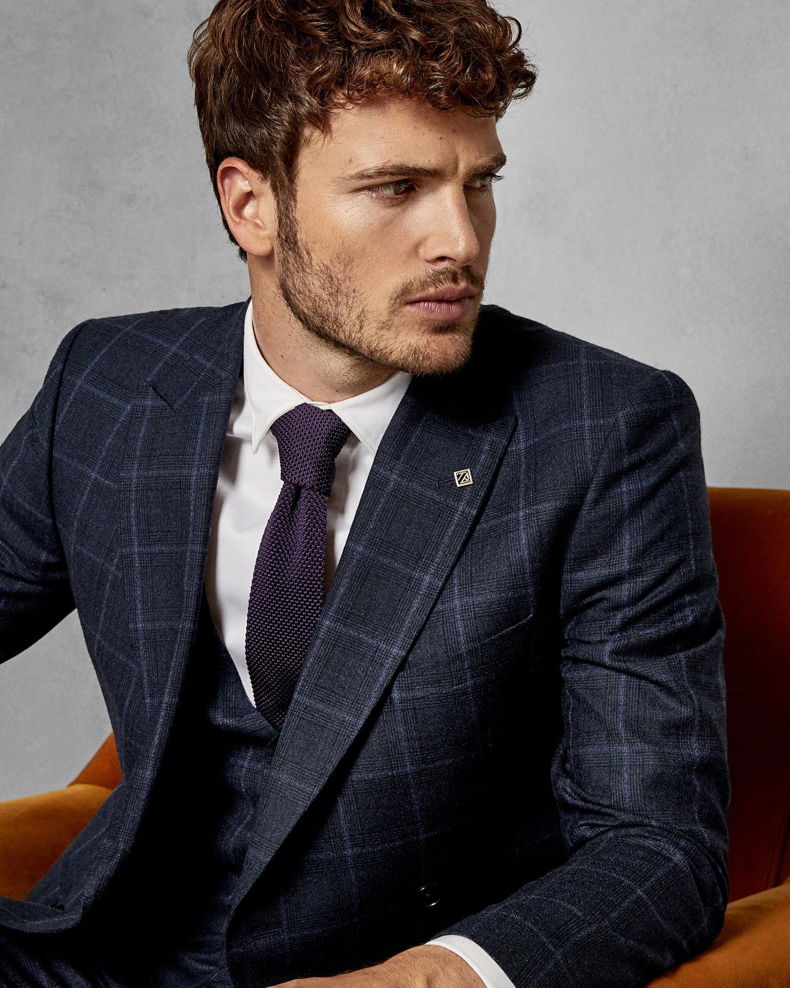 8330890521c3 Ted Baker Debonair Slim Wool Check Suit Jacket in Blue for Men - Lyst