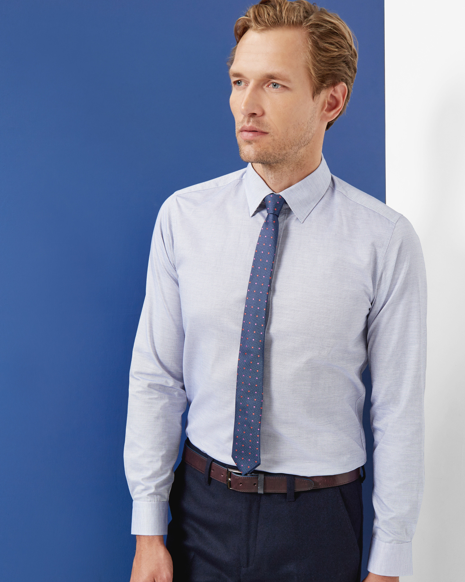 Lyst ted baker horizontal striped shirt in blue for men for Horizontal striped dress shirts men