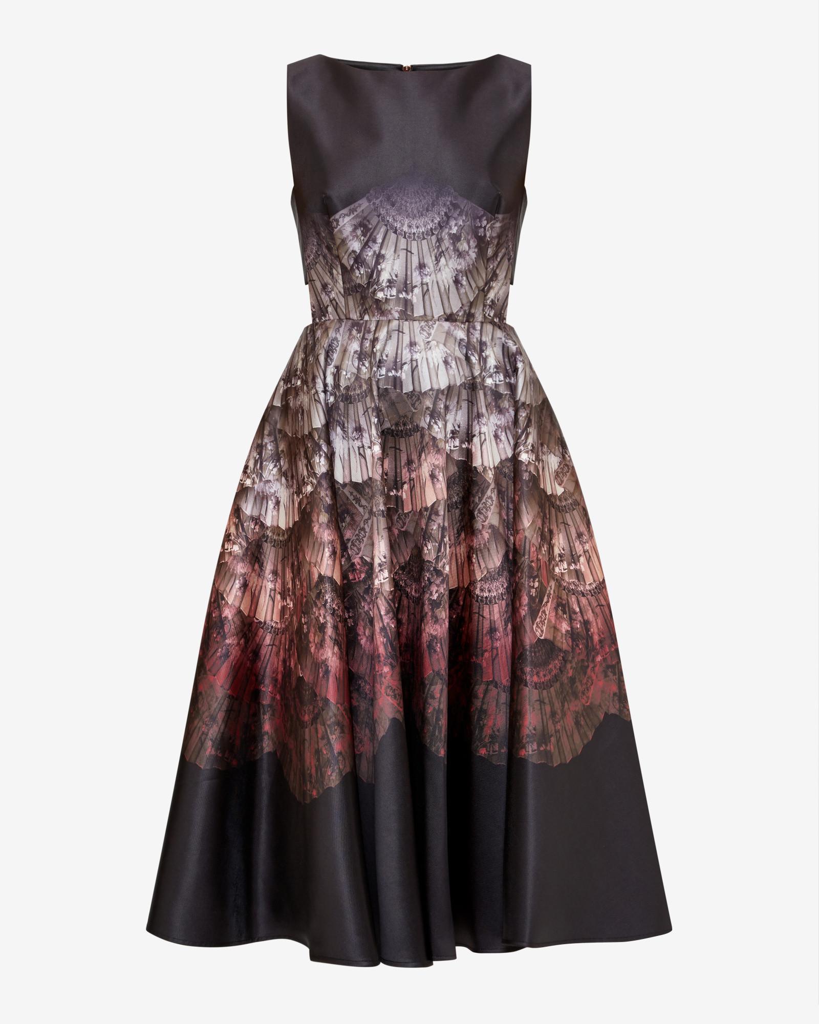 Lyst - Ted Baker Fan Ombré Cut-out Dress in Black