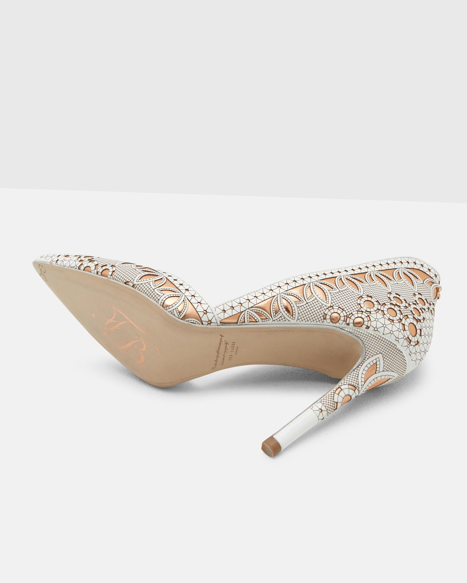 2b3d813685b6dd Lyst - Ted Baker Lazer Cut Leather Heeled Courts in White