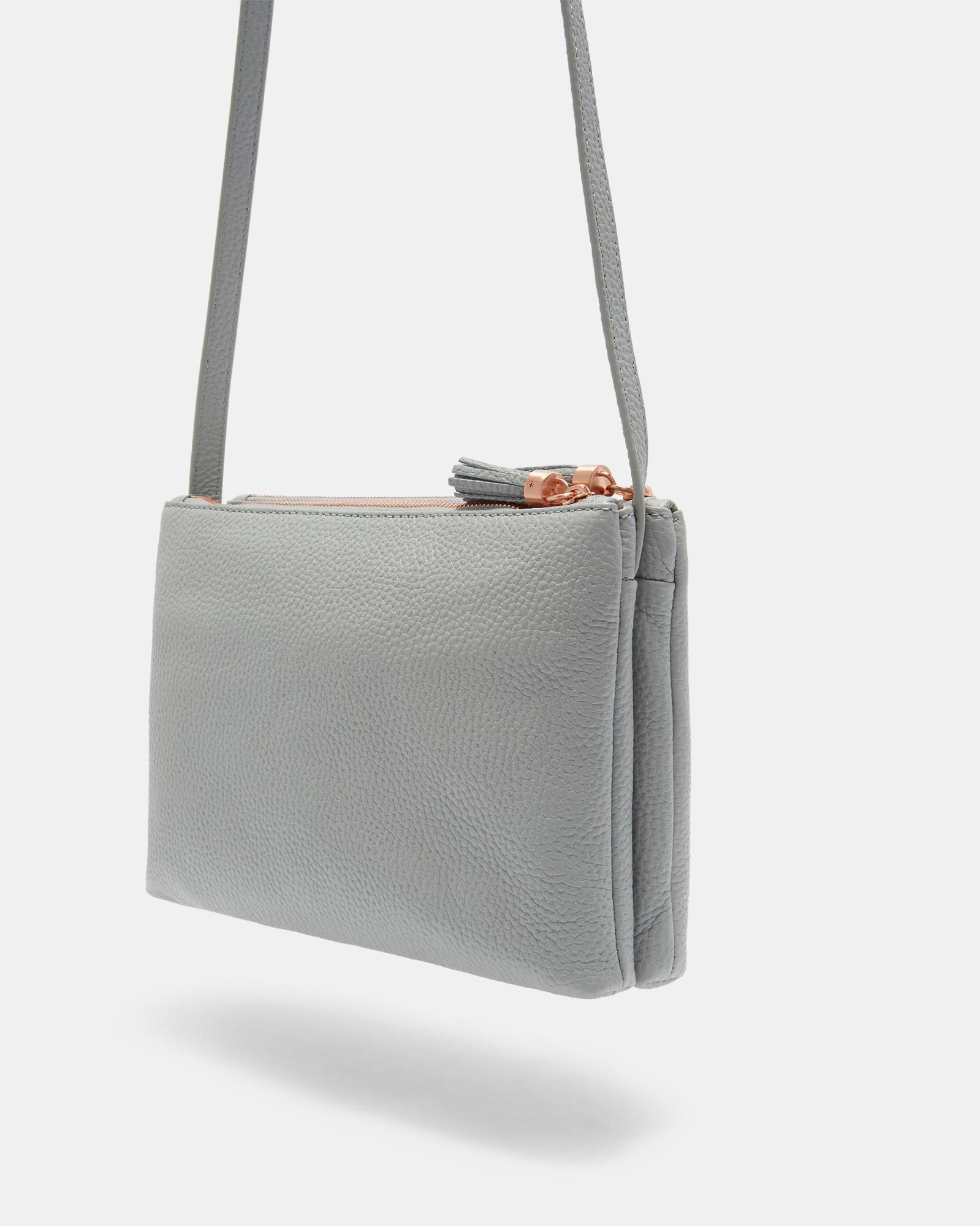 4a6d7b946 Ted Baker Tassel Leather Double Zip Cross Body Bag in Gray - Lyst