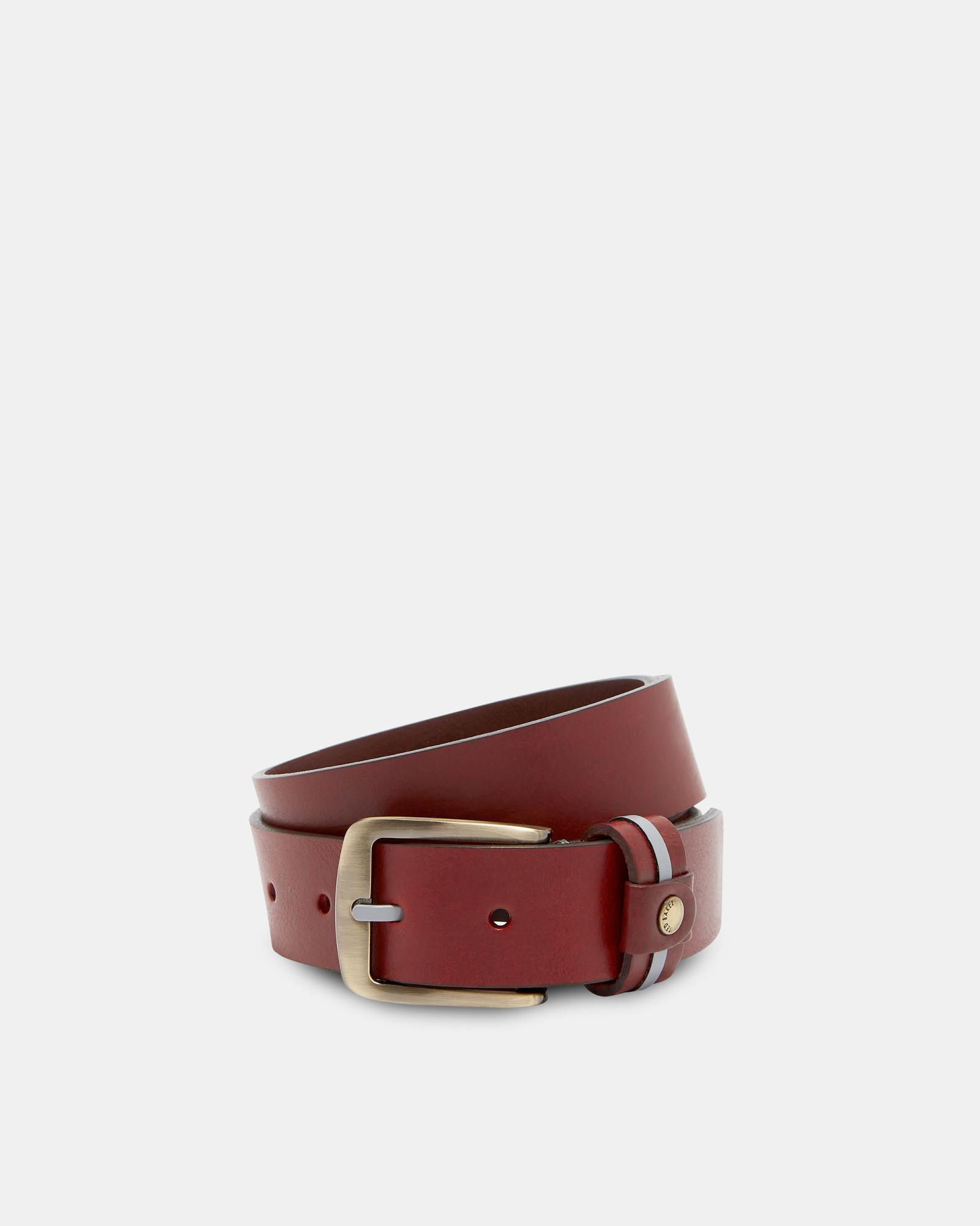 19a012058 Ted Baker Striped Tab Leather Belt in Red for Men - Lyst